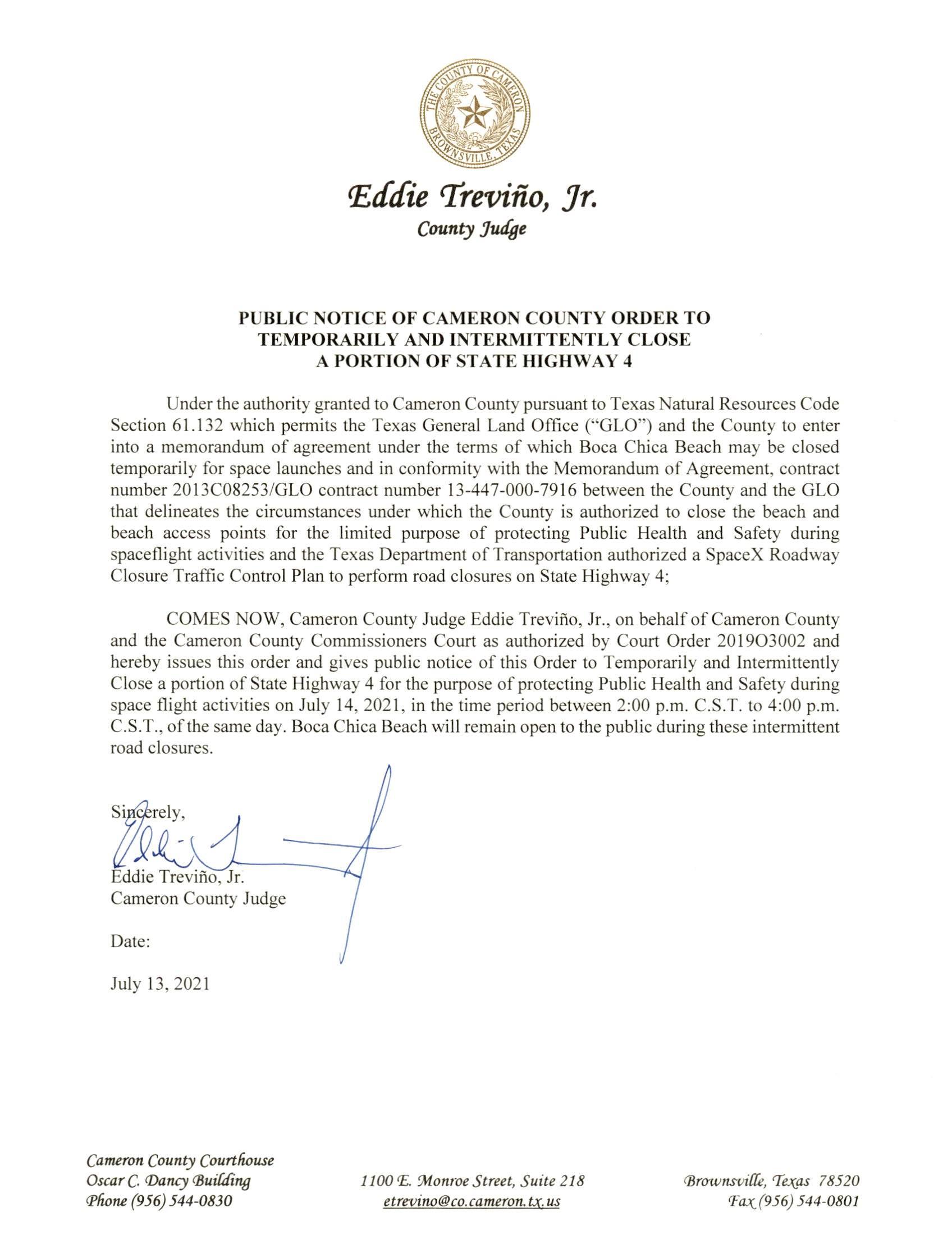 PUBLIC NOTICE OF CAMERON COUNTY ORDER TEMP. ROAD CLOSURE. 07.14.2021