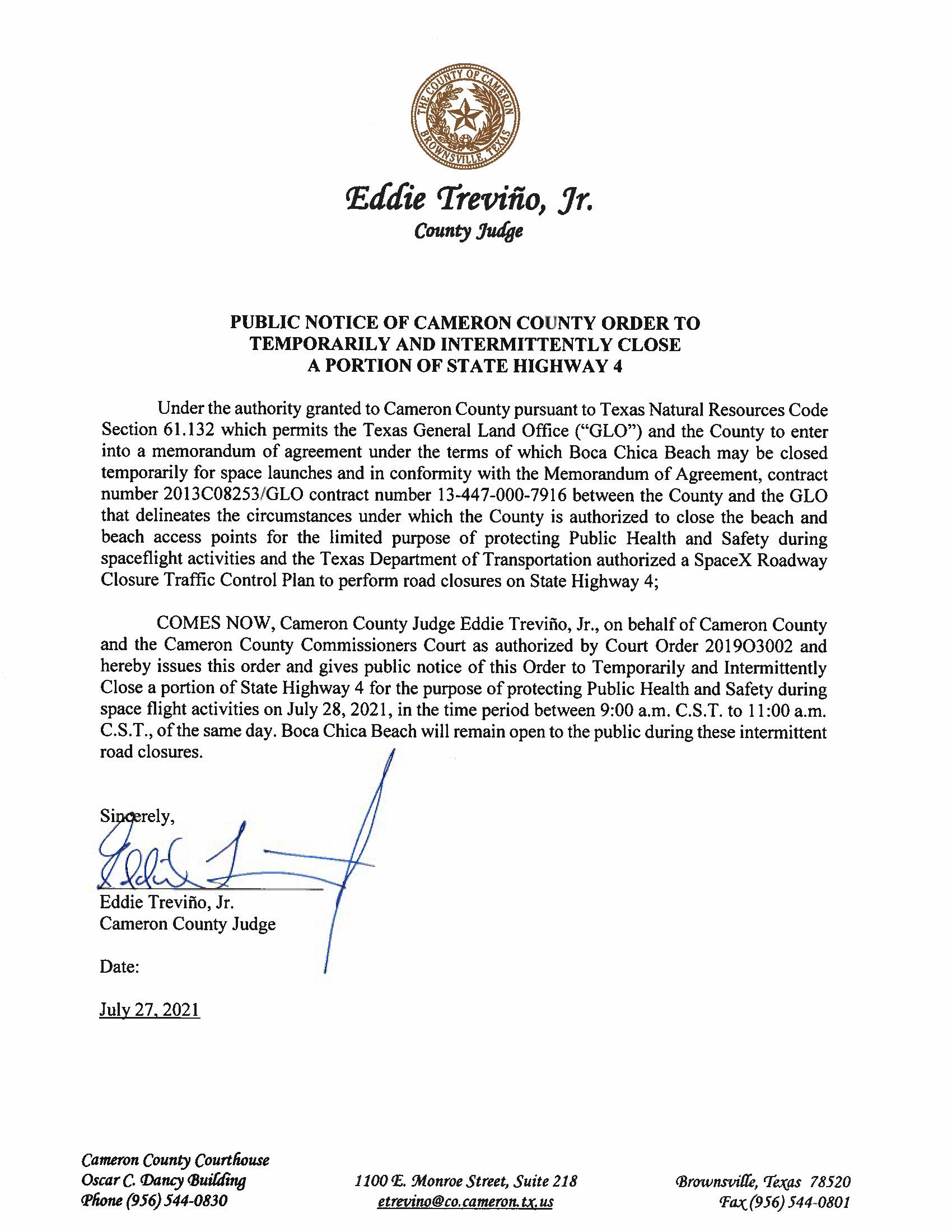 PUBLIC NOTICE OF CAMERON COUNTY ORDER TEMP. ROAD CLOSURE. 07.28.2021