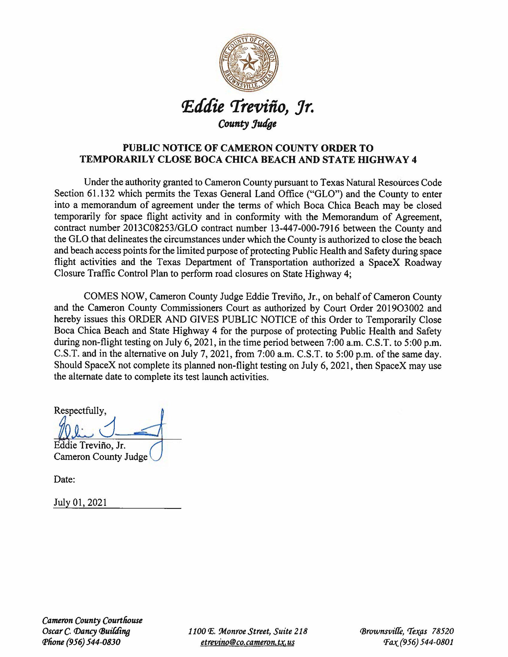 PUBLIC NOTICE OF CAMERON COUNTY ORDER TO TEMP. BEACH CLOSURE AND HWY.07.06.2021