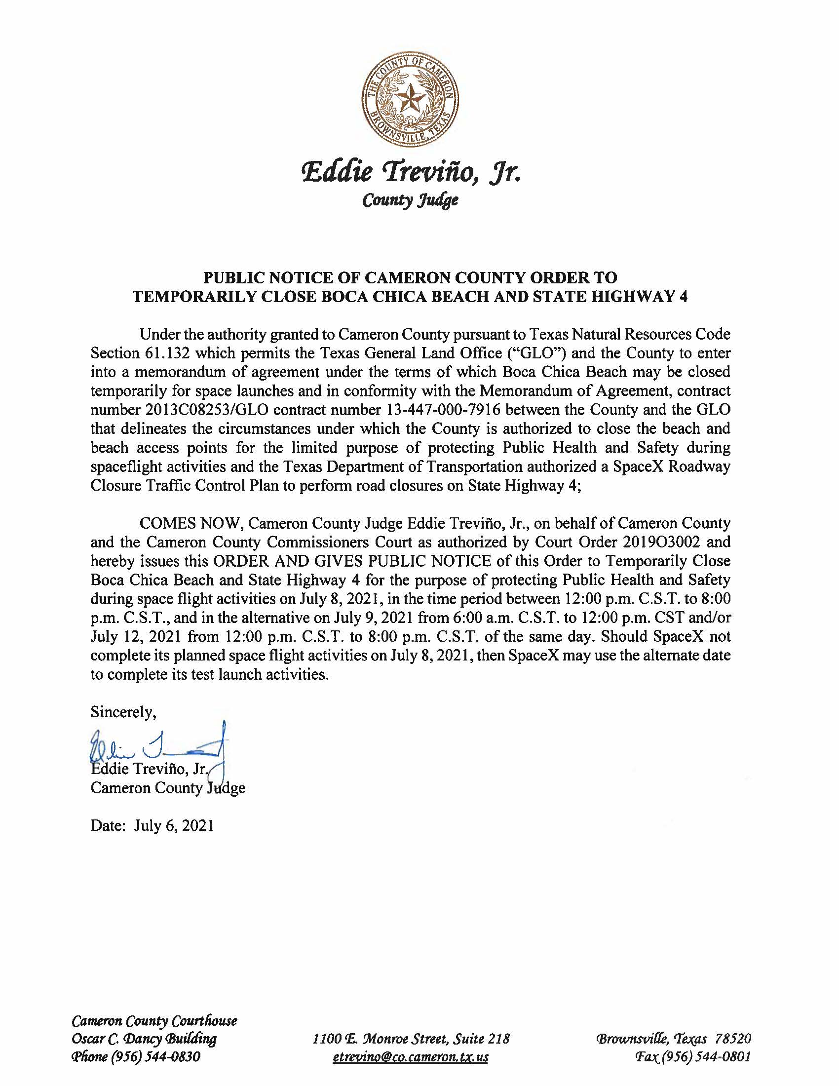 PUBLIC NOTICE OF CAMERON COUNTY ORDER TO TEMP. BEACH CLOSURE AND HWY.07.08.2021