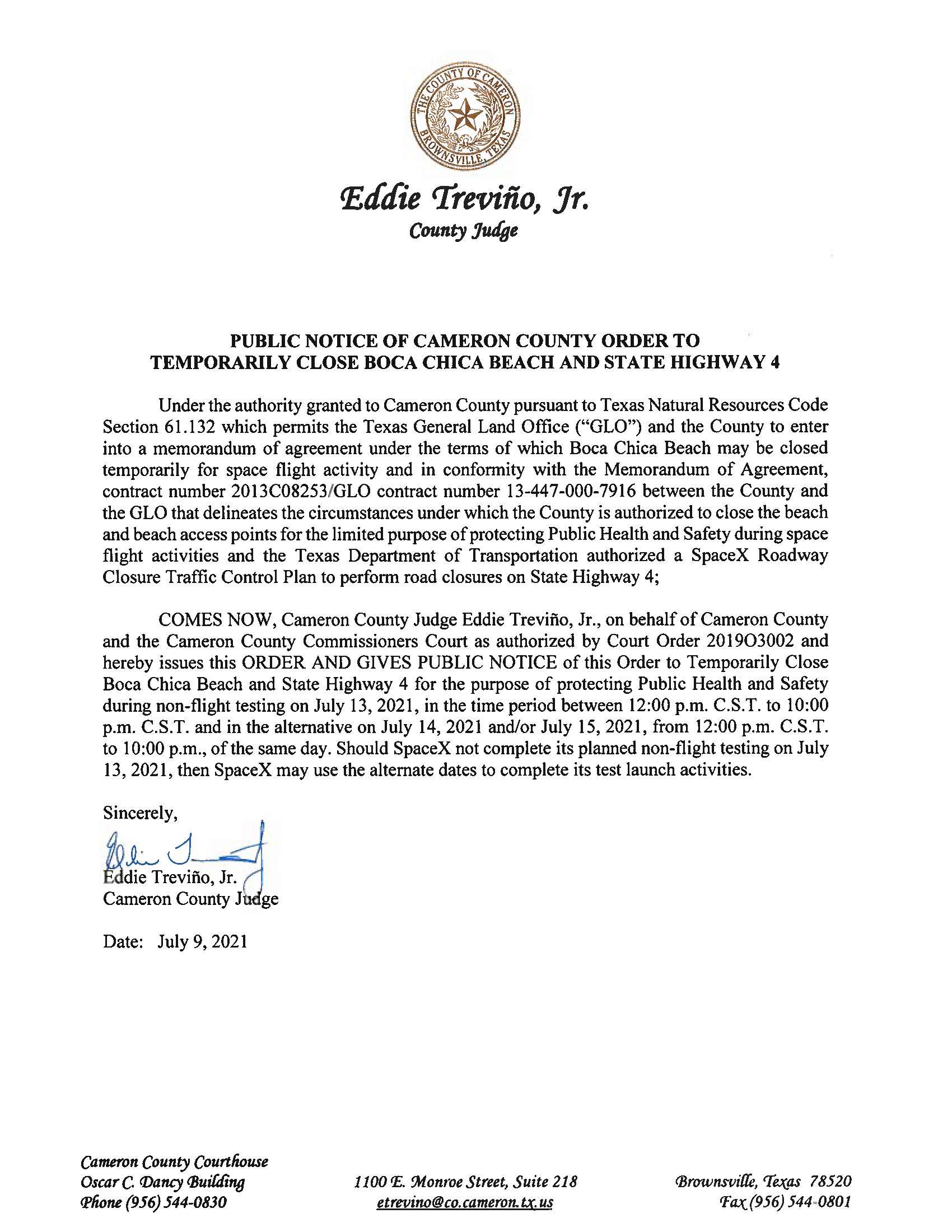 PUBLIC NOTICE OF CAMERON COUNTY ORDER TO TEMP. BEACH CLOSURE AND HWY.07.13.2021