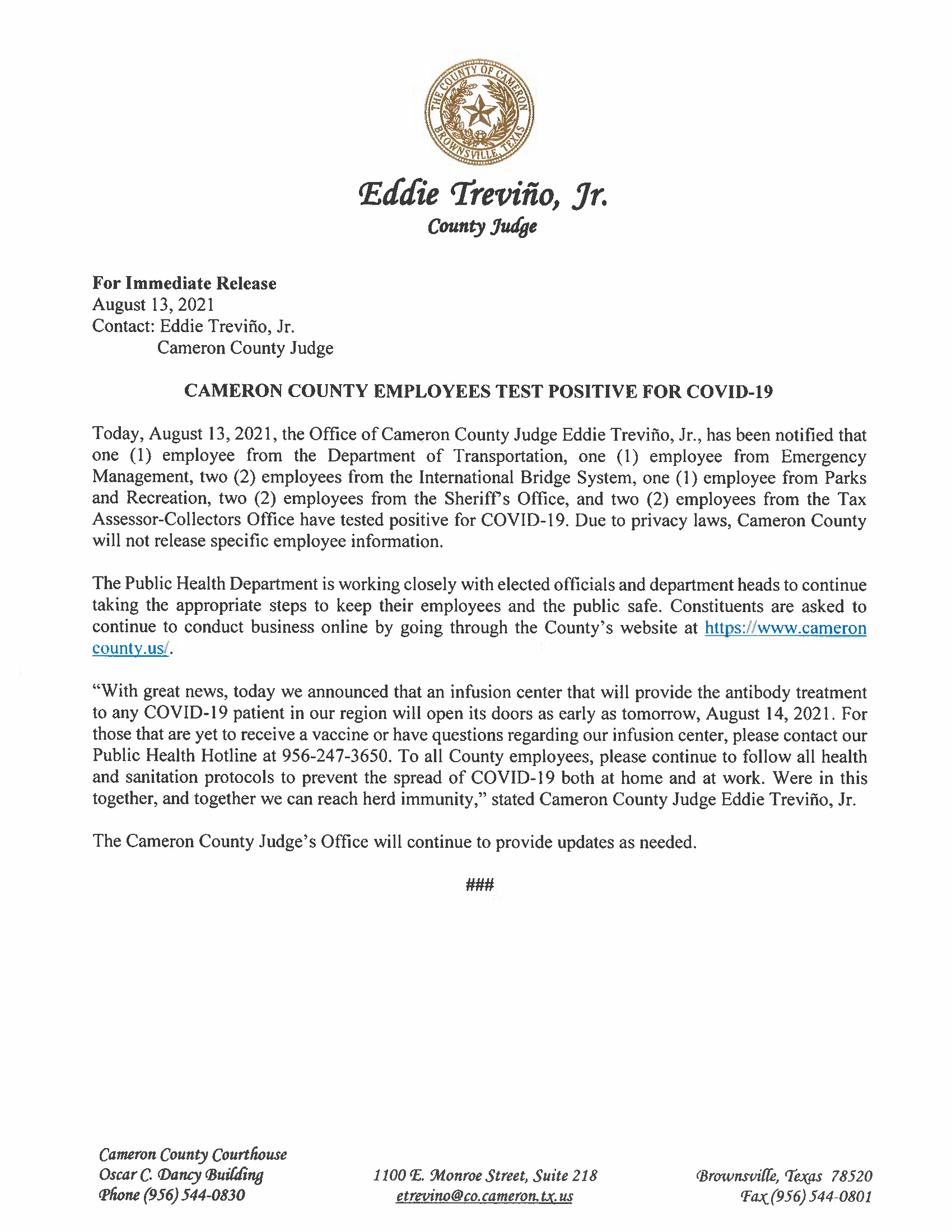 8.13.21 Cameron County Employees Test Positive For COVID 19