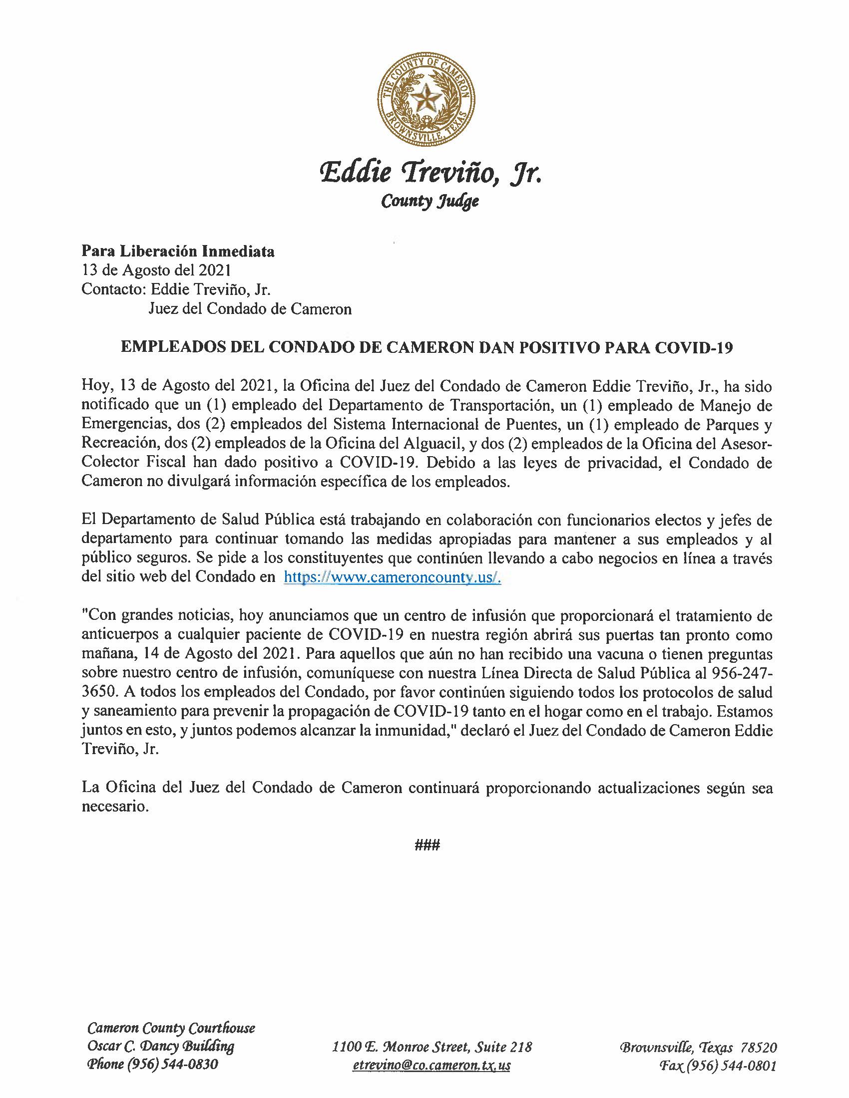 8.13.21 Empleados Del Condado De Cameron Dan Positivo Para COVID 19