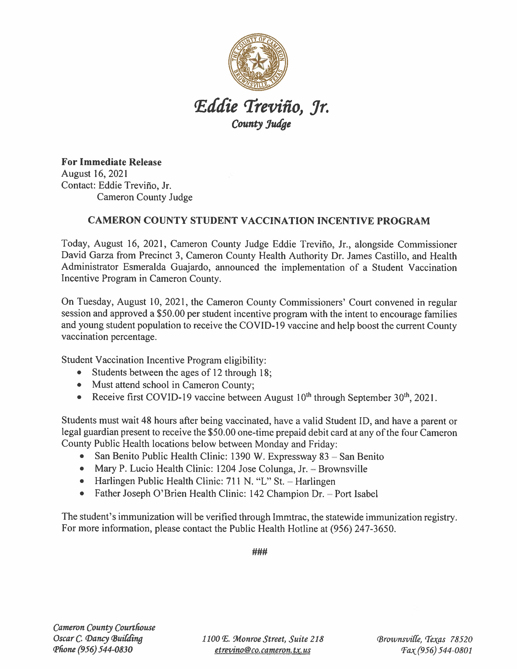 8.16.21 Cameron County Student Vaccination Incentive Program