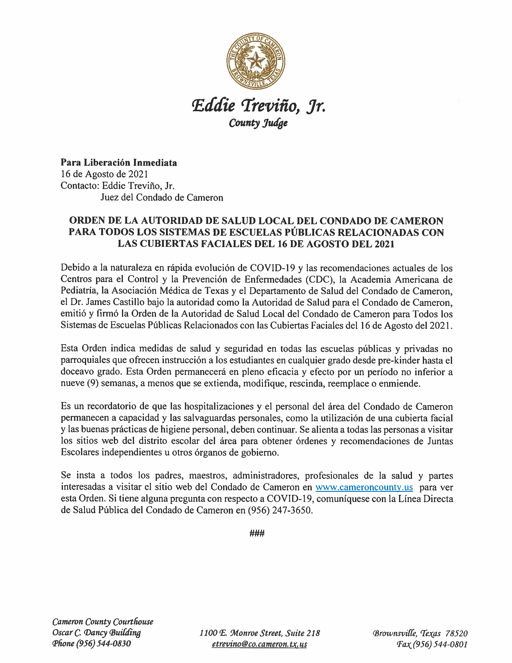 8.16.21 Orden De La Autoridad Salud Local