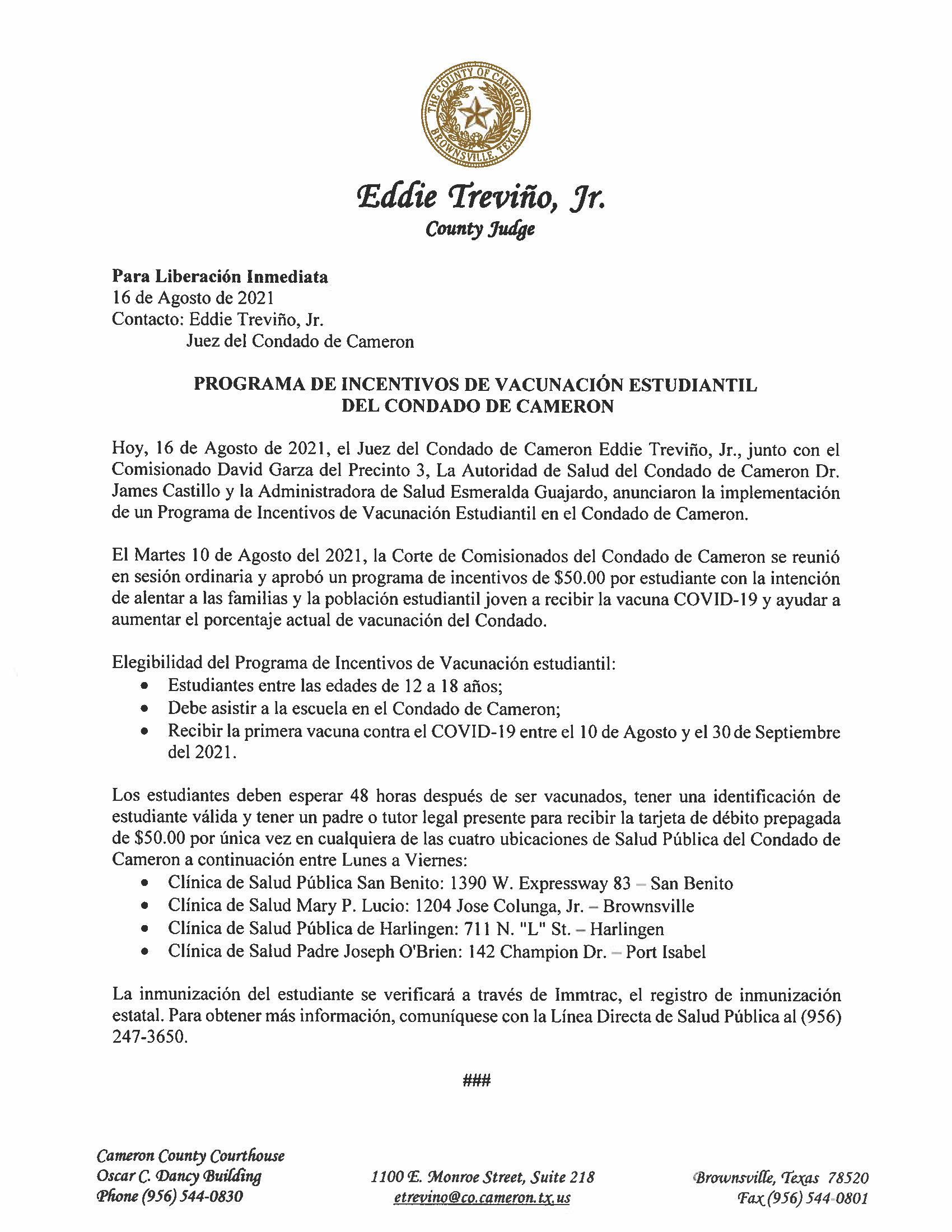 8.16.21 Programa De Incentivos De Vacunacion Estudiantil Del Condado De Cameron