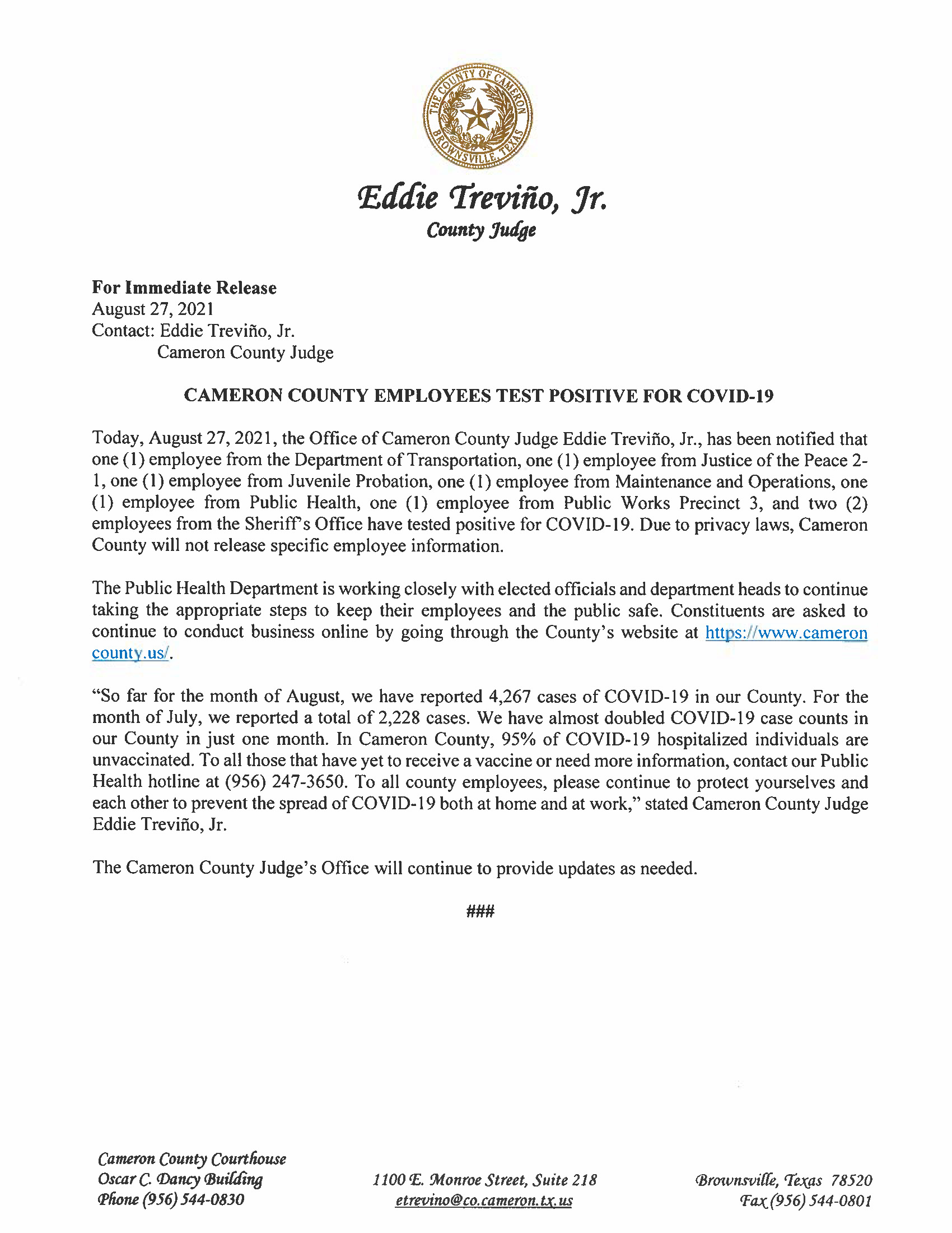 8.27.21 Cameron County Employees Test Positive For COVID 19