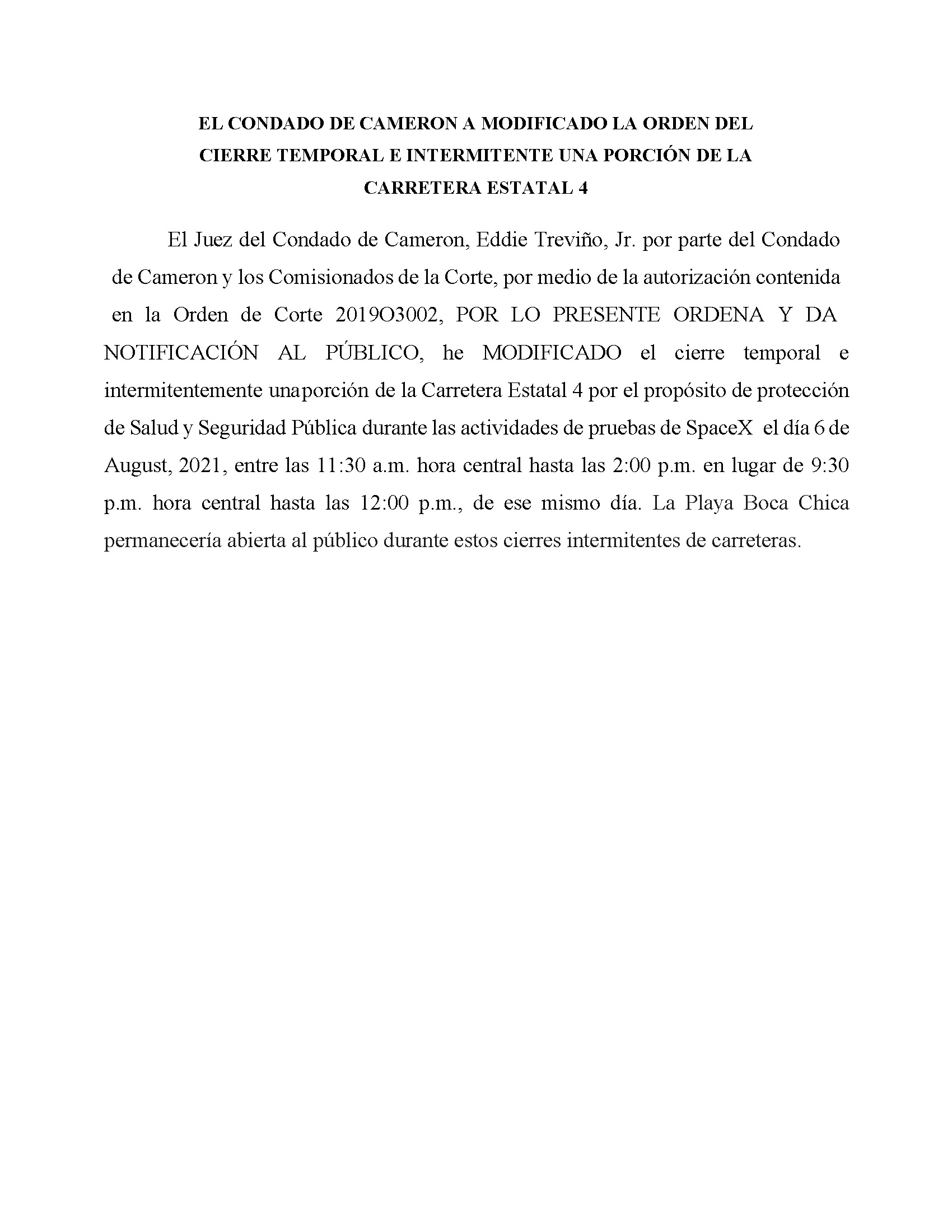 AMENDED ORDER.CLOSURE OF HIGHWAY 4.SPANISH.08.06.2021