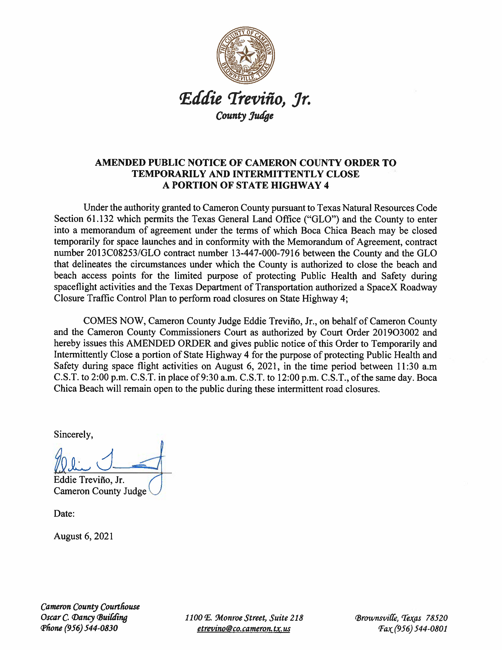AMENDED PUBLIC NOTICE OF CAMERON COUNTY ORDER TO TEMP. ROAD CLOSURE. 08.06.2021