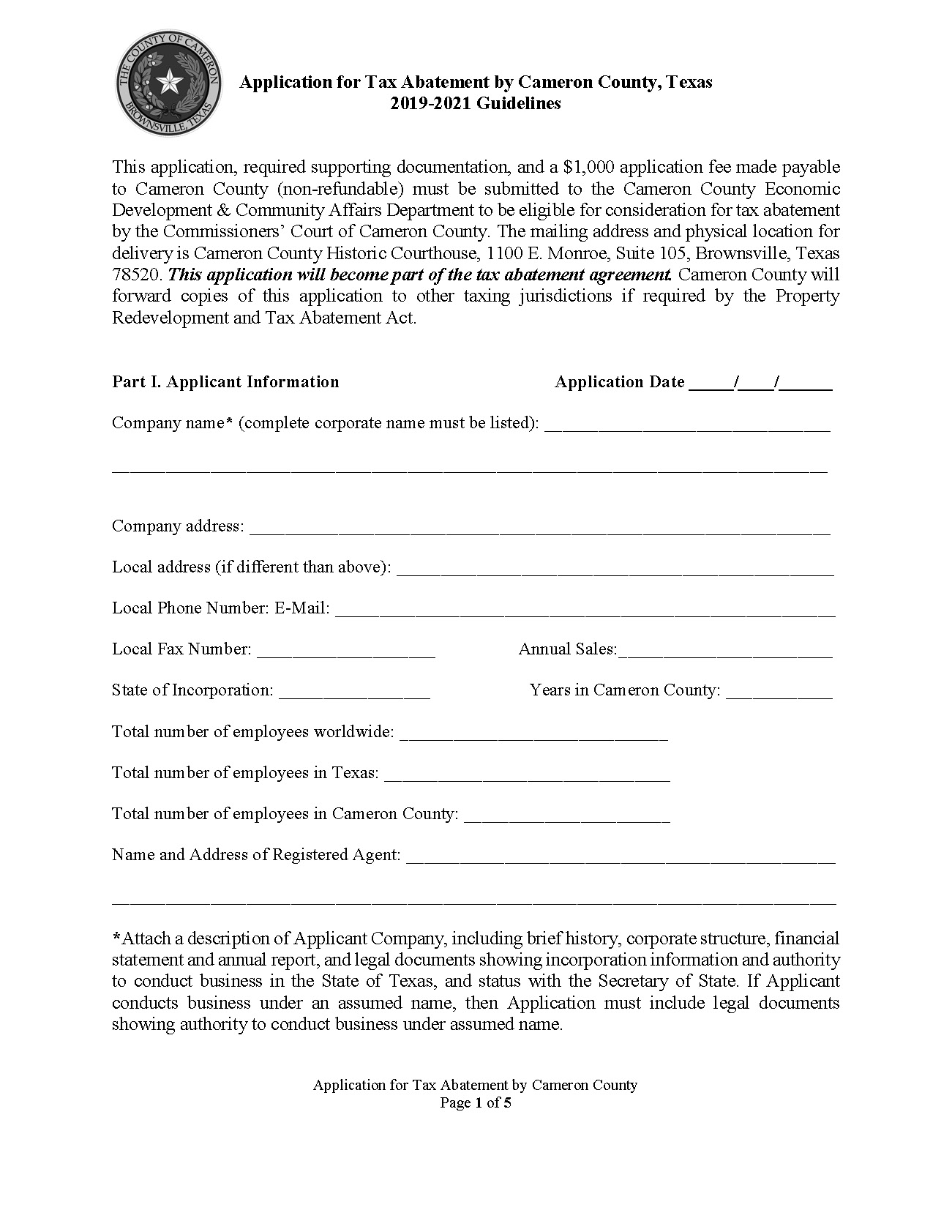 Application For Tax Abatement By Cameron County 2019 2021 Page 1