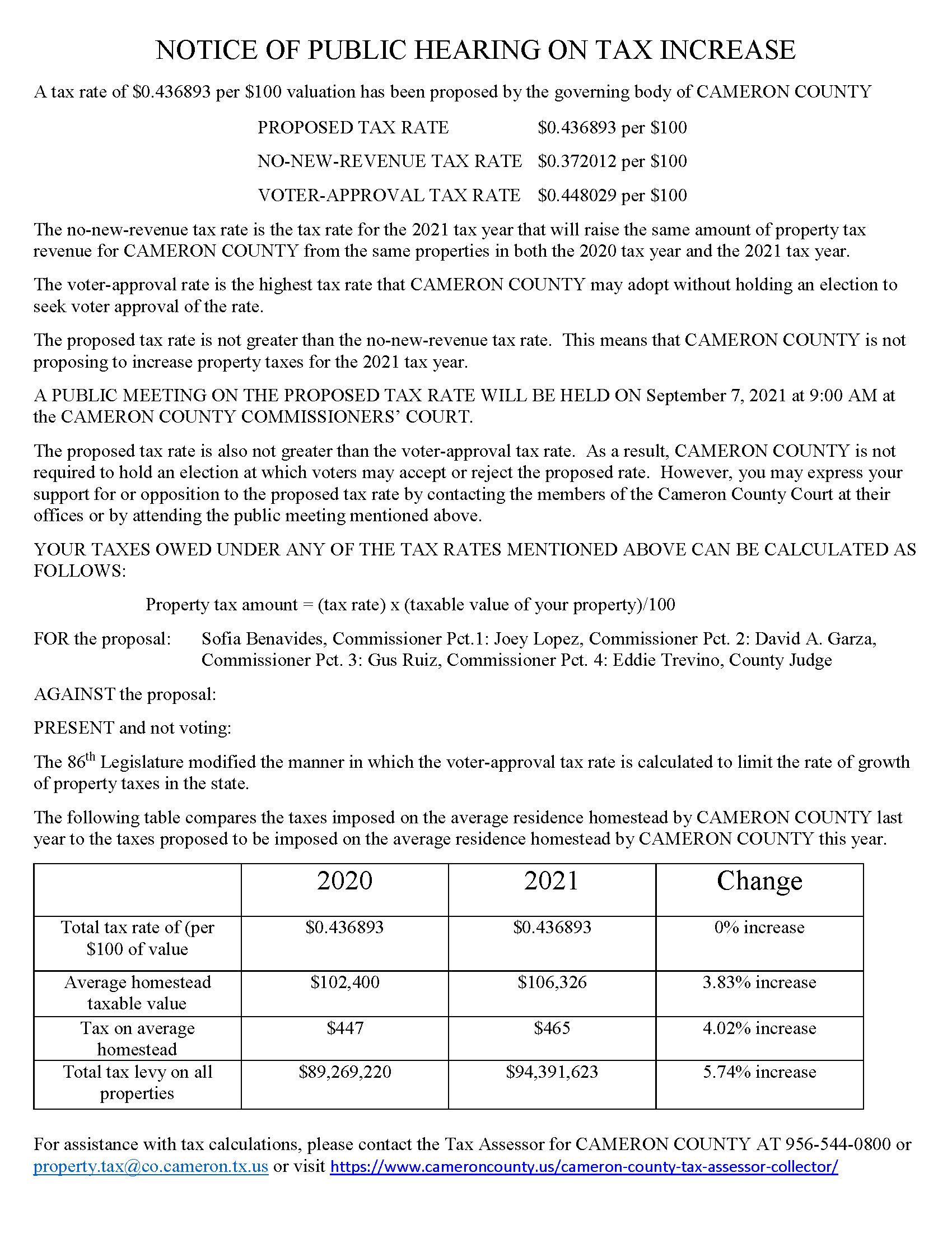 NOTICE OF MEETING TO VOTE ON TAX RATE
