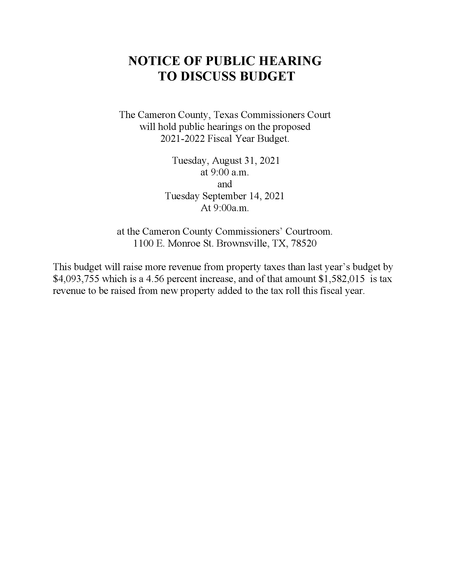 NOTICE OF PUBLIC HEARING BUDGET