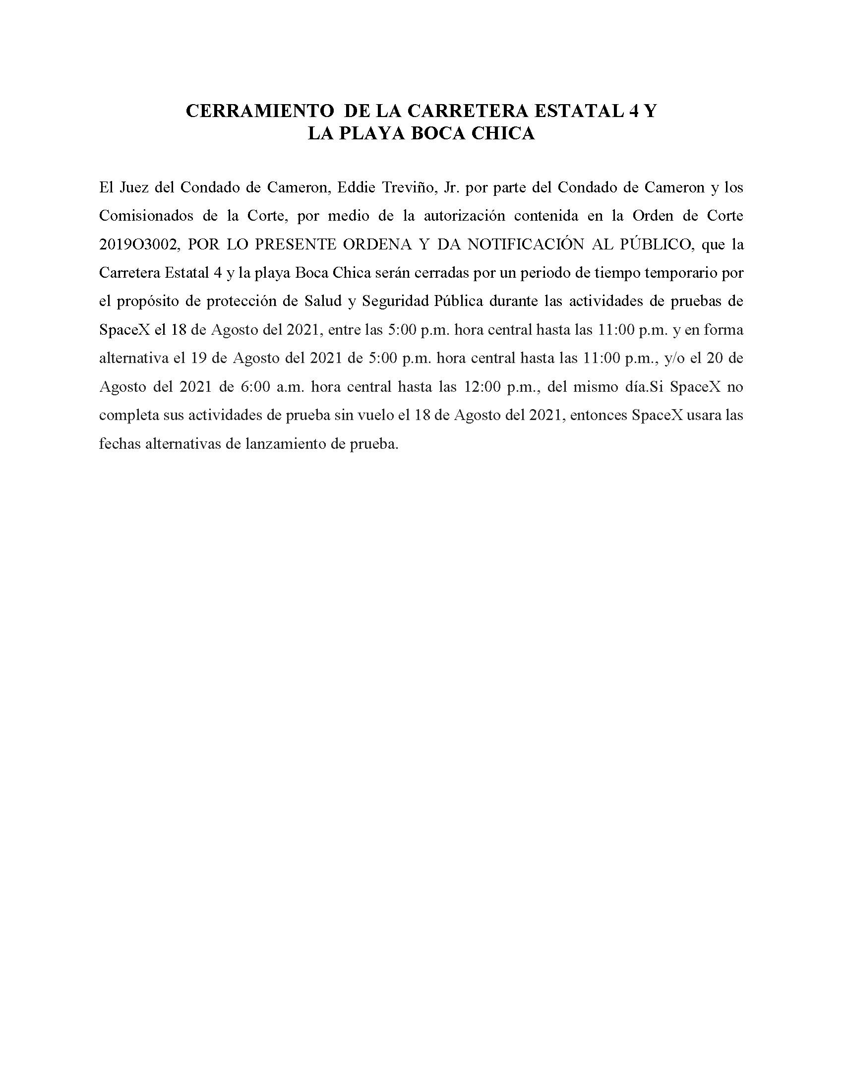 ORDER.CLOSURE OF HIGHWAY 4 Y LA PLAYA BOCA CHICA.SPANISH.08.18.2021