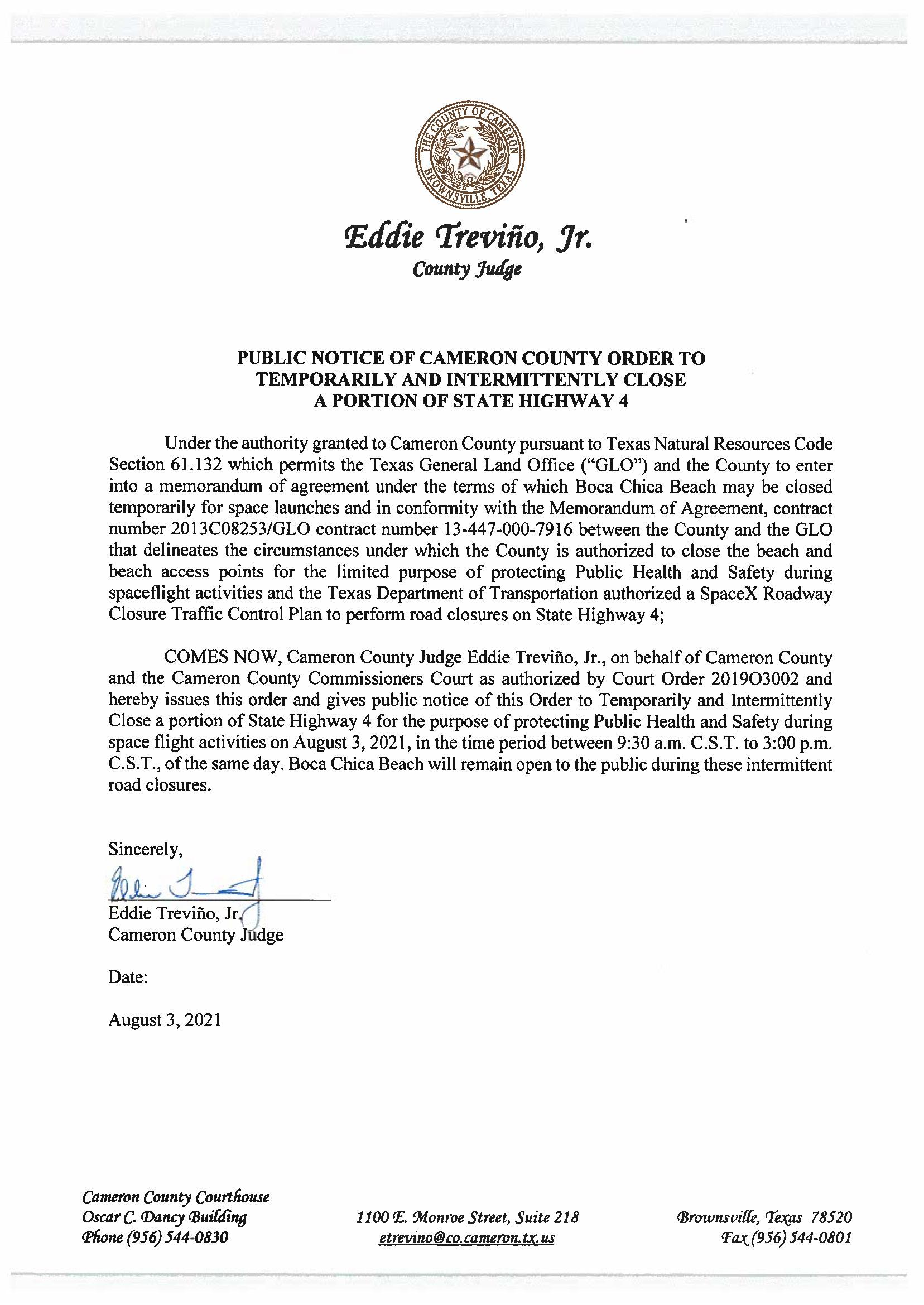 PUBLIC NOTICE OF CAMERON COUNTY ORDER TEMP. ROAD CLOSURE. 08.03.2021