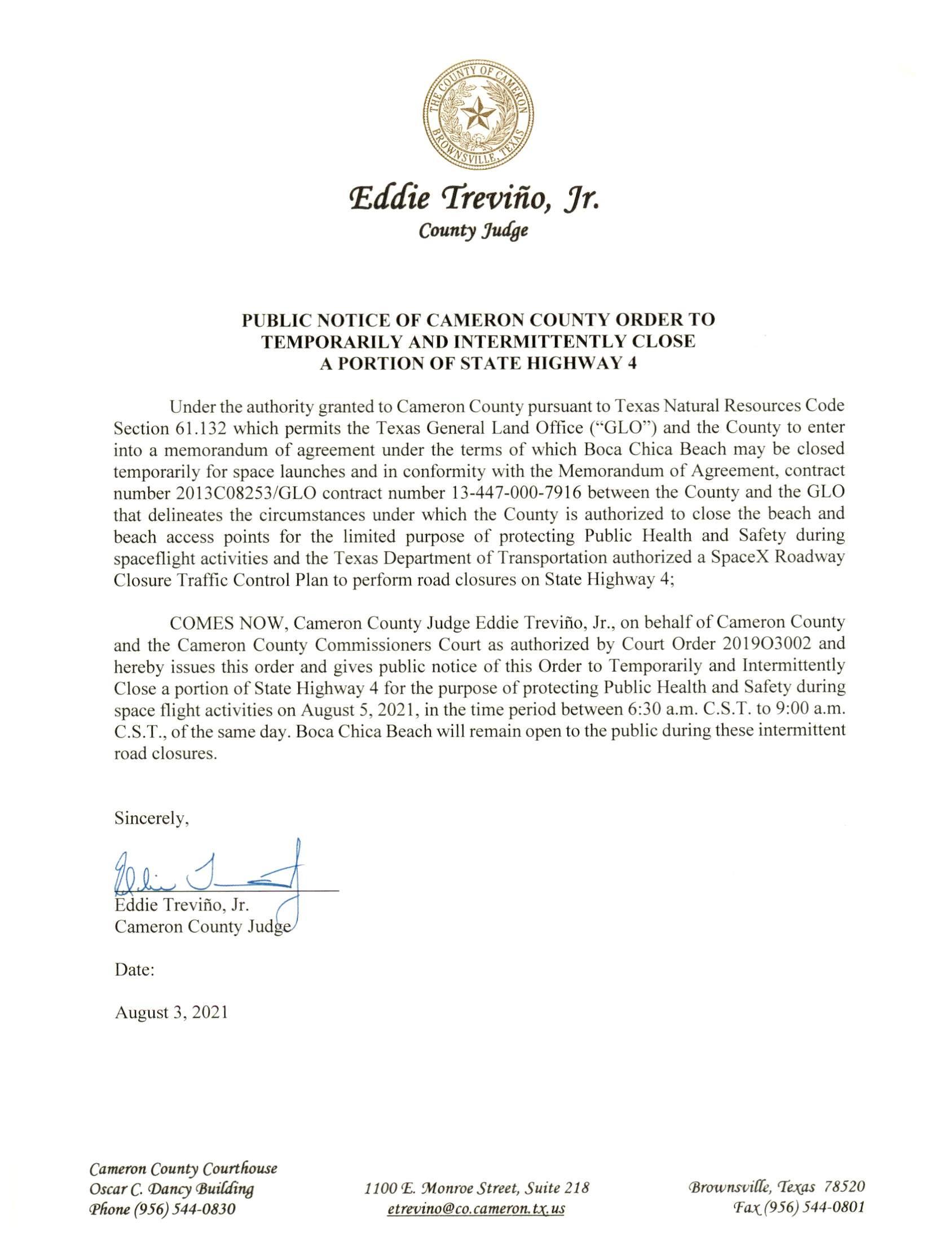 PUBLIC NOTICE OF CAMERON COUNTY ORDER TEMP. ROAD CLOSURE. 08.05.2021