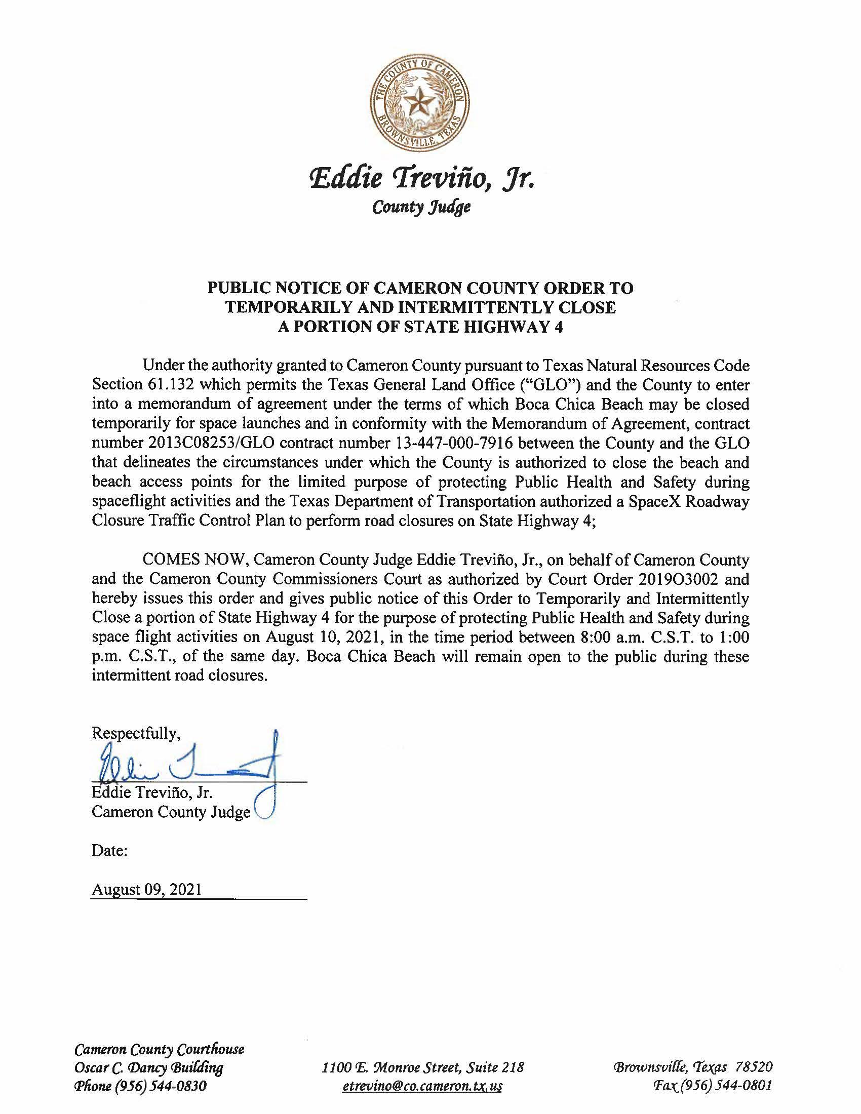 PUBLIC NOTICE OF CAMERON COUNTY ORDER TEMP. ROAD CLOSURE. 08.10.2021