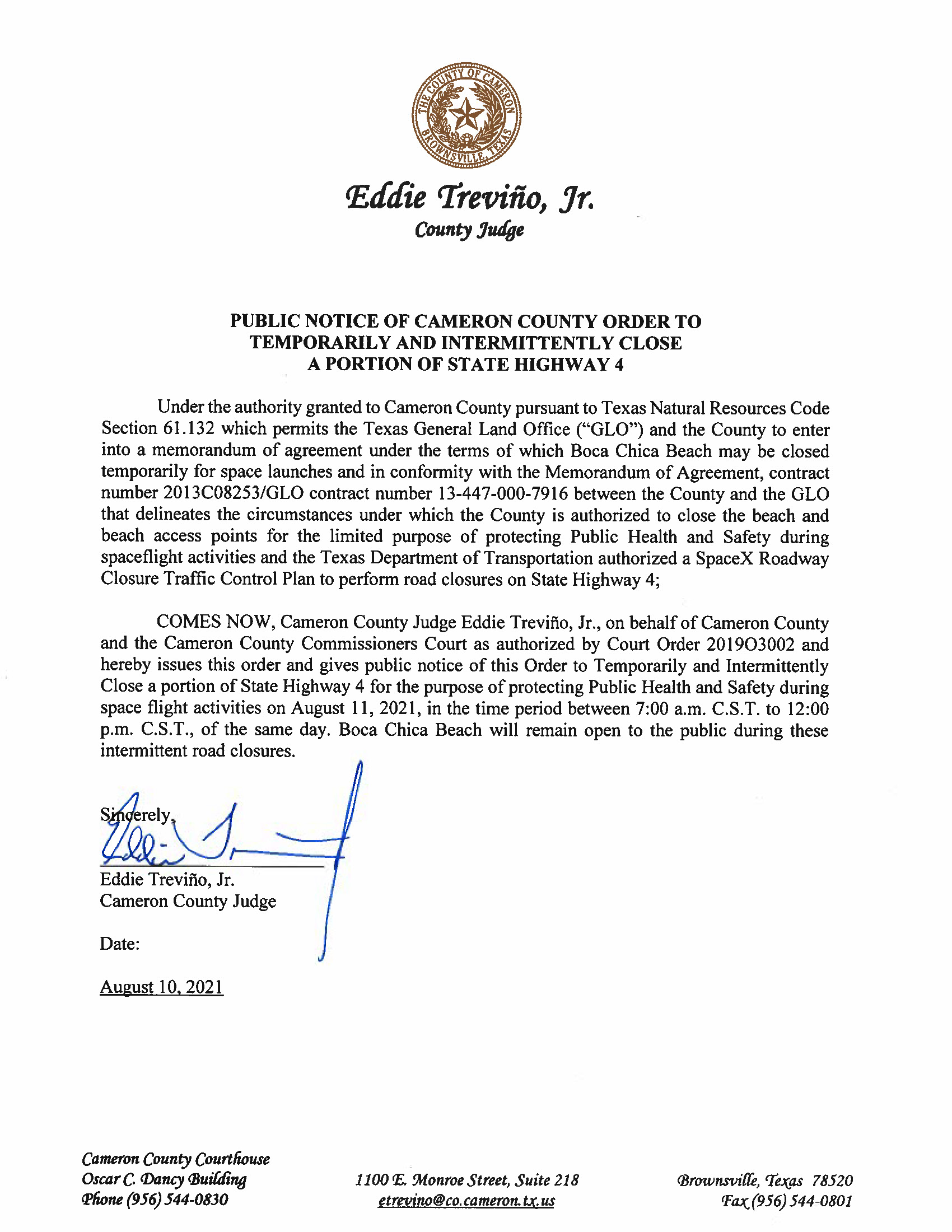PUBLIC NOTICE OF CAMERON COUNTY ORDER TEMP. ROAD CLOSURE. 08.11.2021