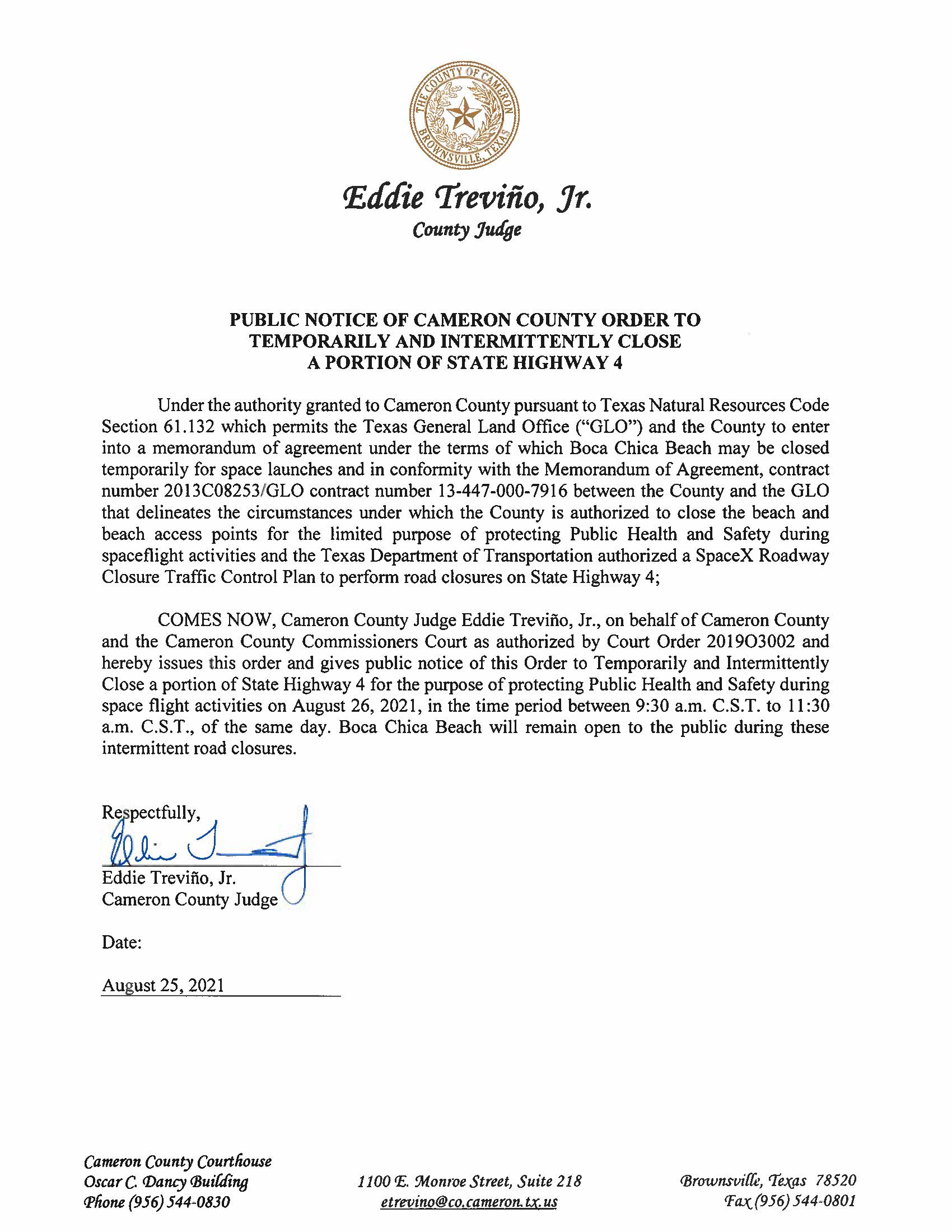 PUBLIC NOTICE OF CAMERON COUNTY ORDER TEMP. ROAD CLOSURE. 08.26.2021
