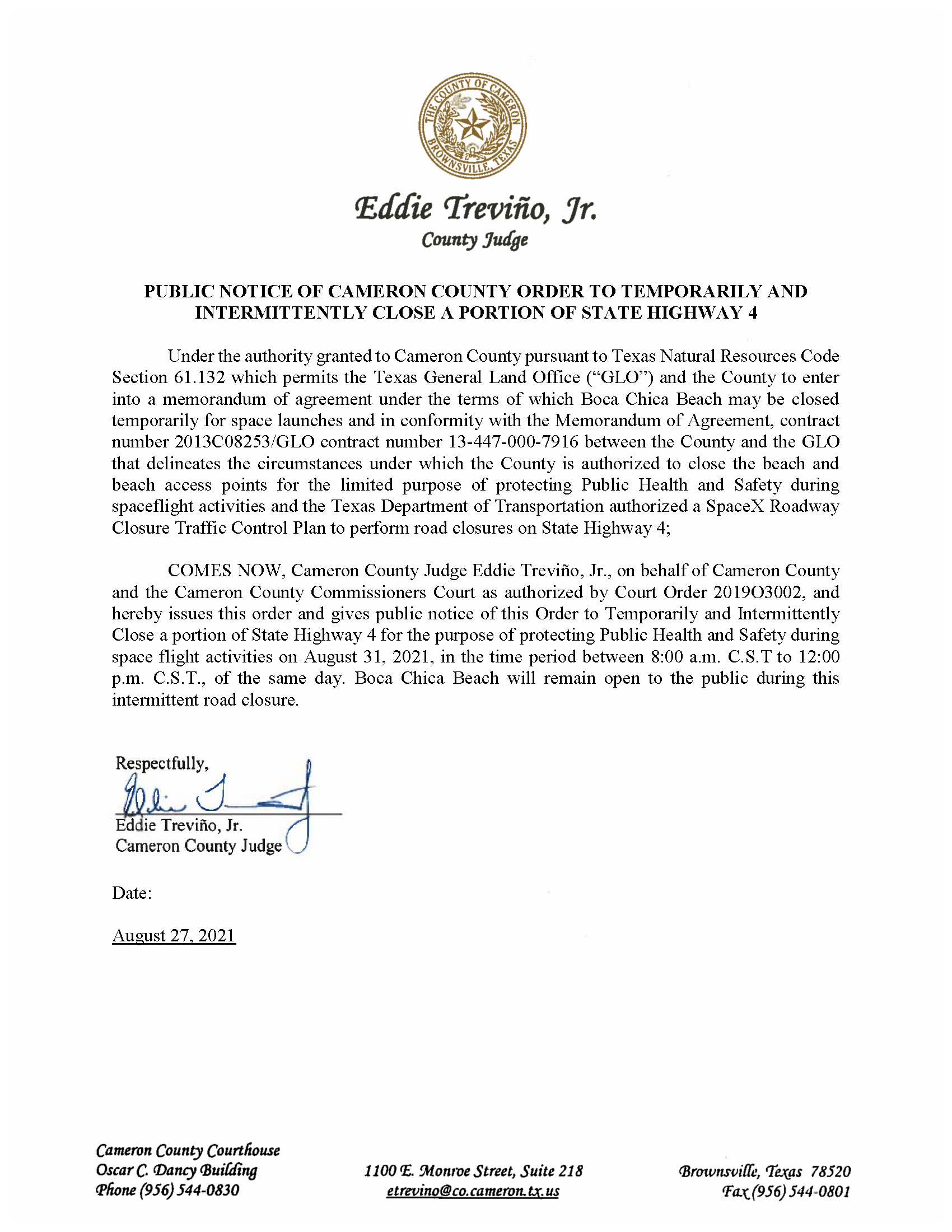 PUBLIC NOTICE OF CAMERON COUNTY ORDER TEMP. ROAD CLOSURE. 08.31.2021