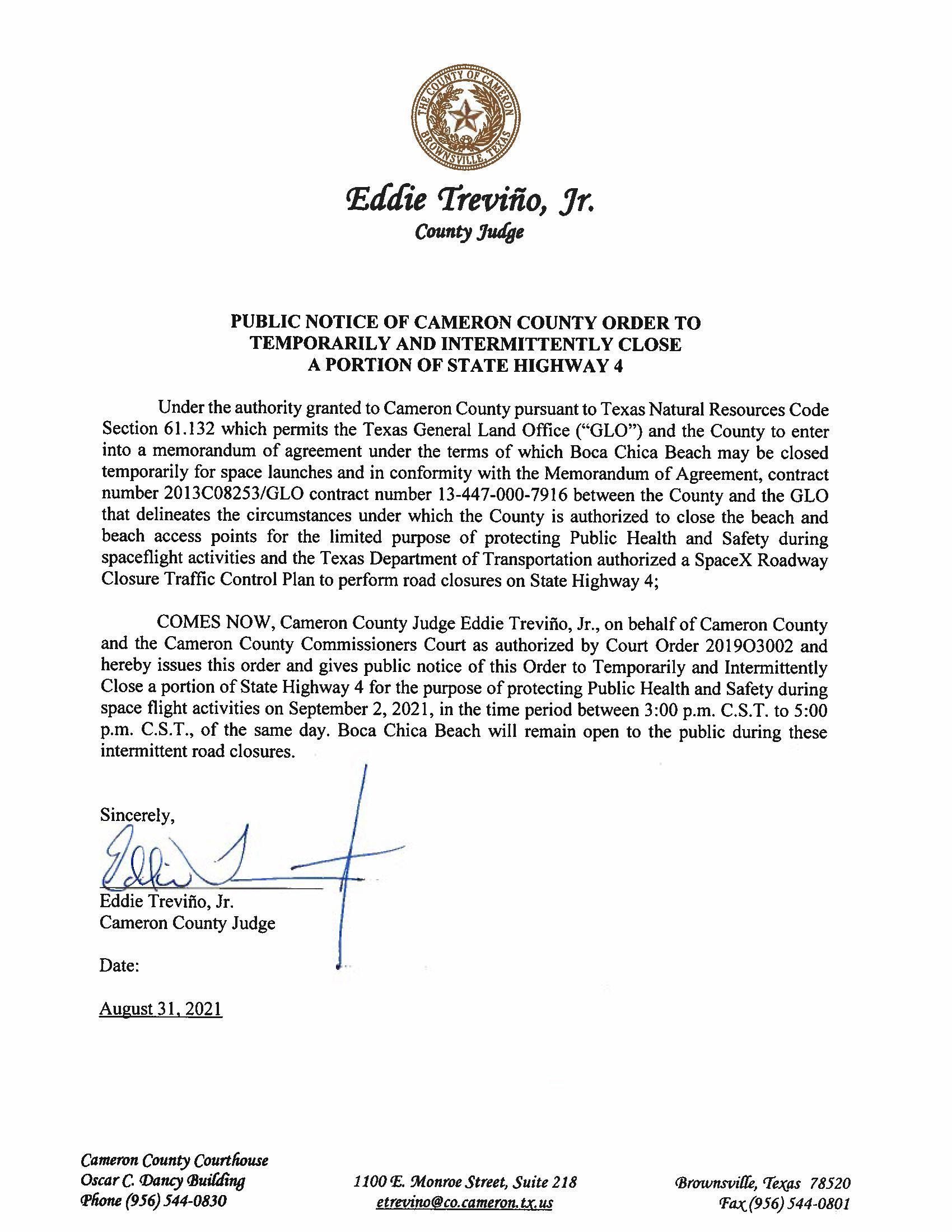 PUBLIC NOTICE OF CAMERON COUNTY ORDER TEMP. ROAD CLOSURE. 09.02.2021