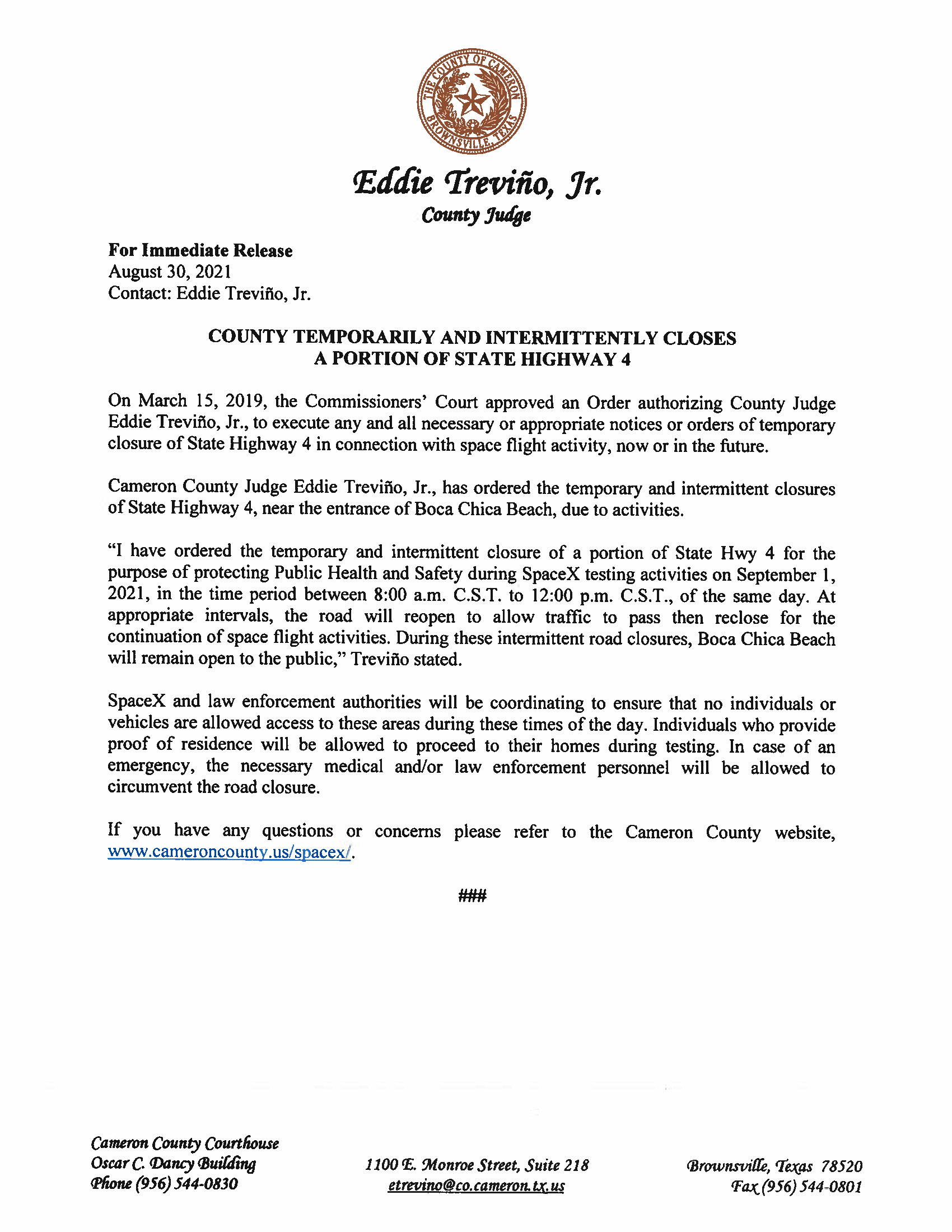 Press Release On Order Related To SpaceX Flight.ROAD CLOSURE. 09.01.2021 Page 1