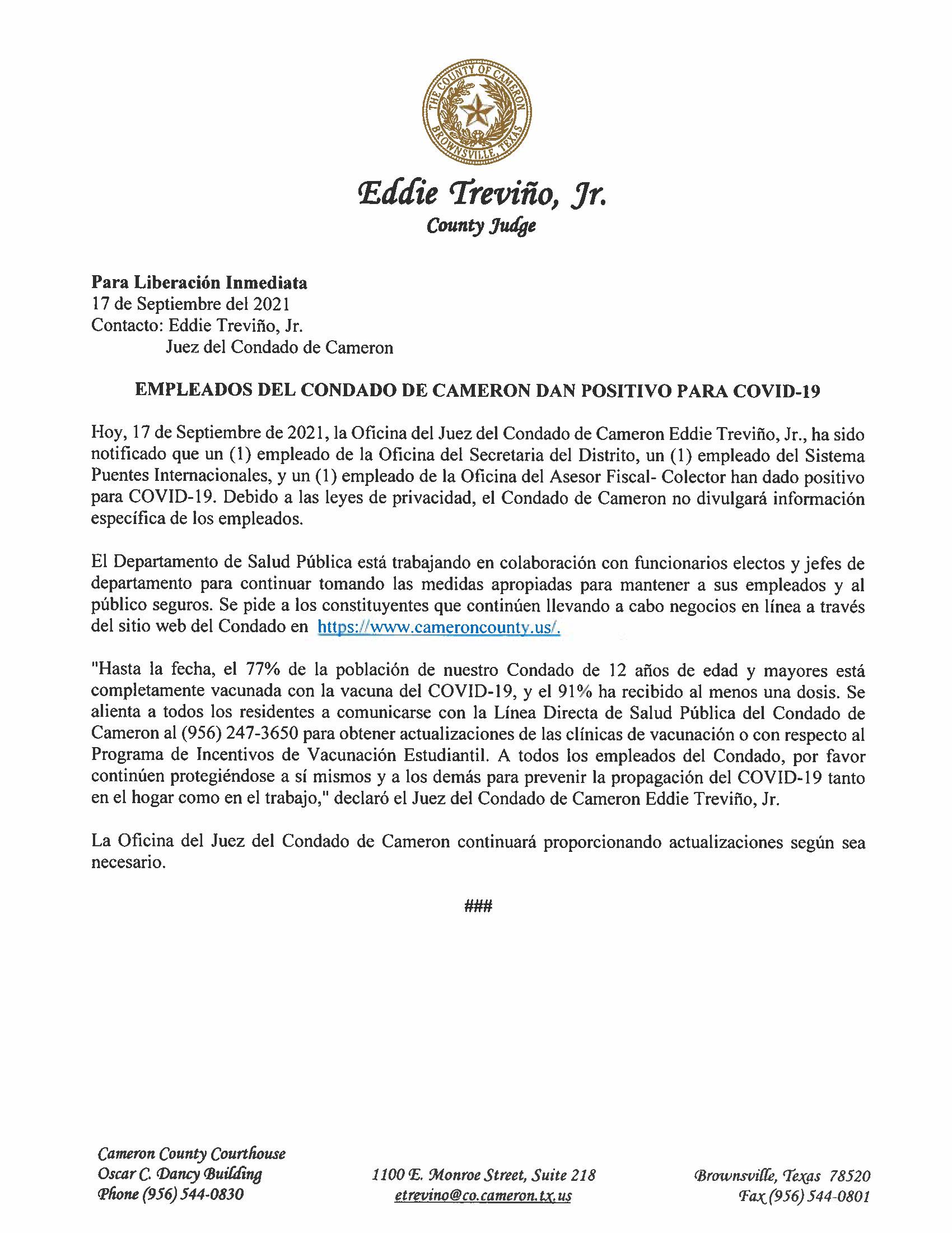 9.17.21 Empleados Del Condado De Cameron Dan Positivo Para COVID 19