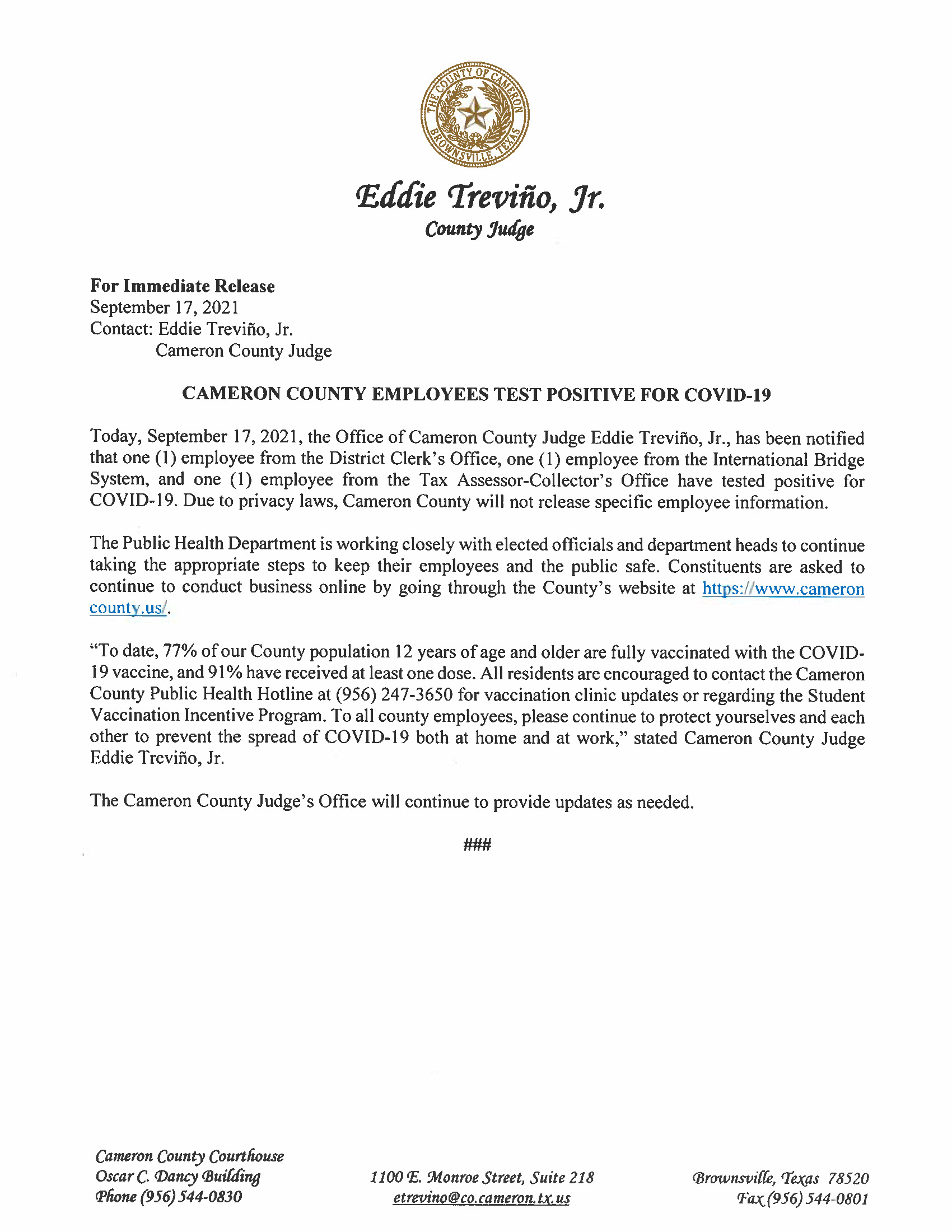 9.17.21 PR Cameron County Employees Test Positive For COVID 19