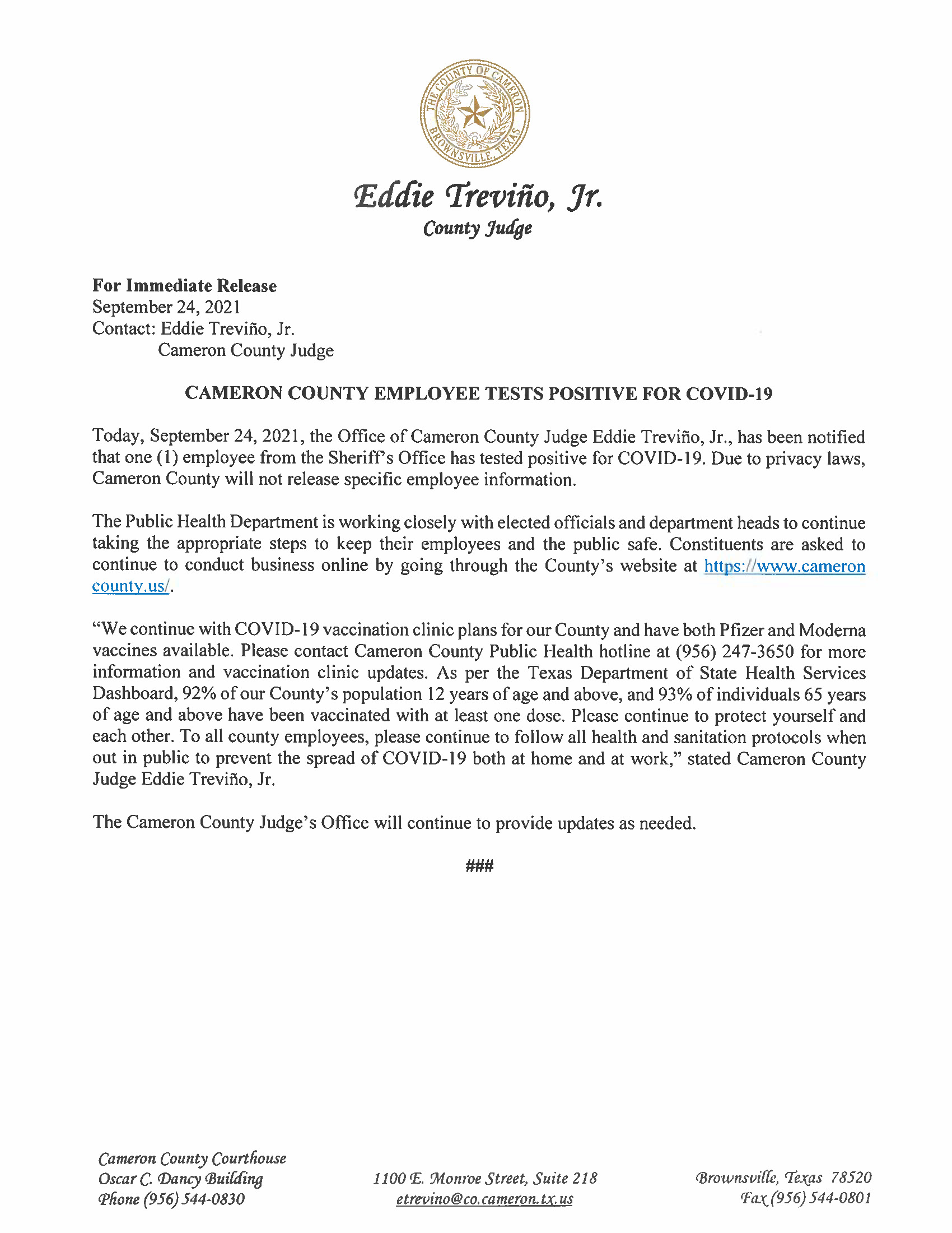 9.24.21 Cameron County Employee Tests Positive For COVID 19