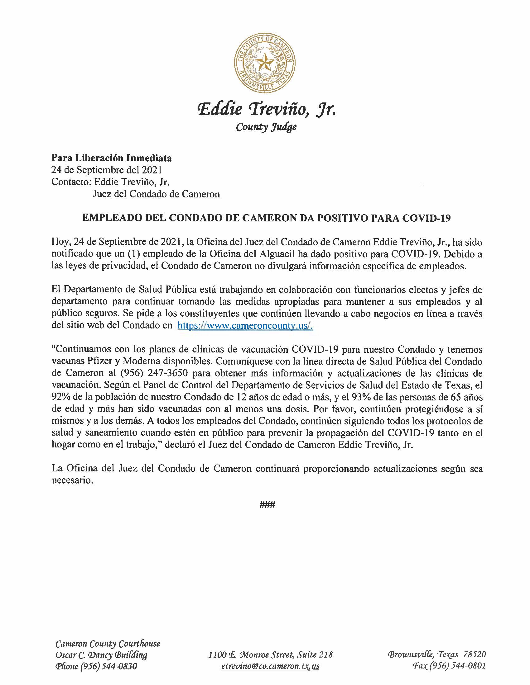 9.24.21 Empleado Del Condado De Cameron Da Positivo Para COVID 19