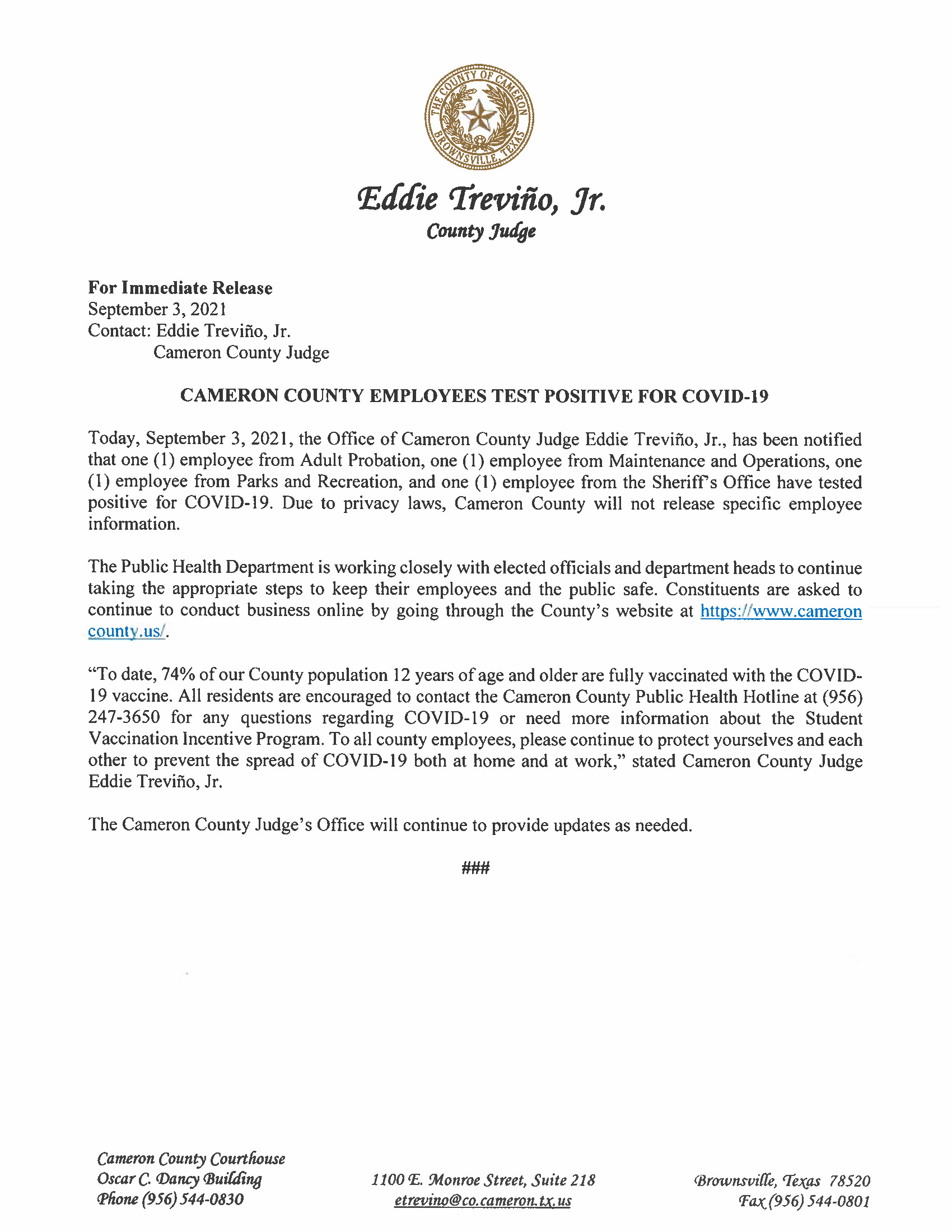 9.3.21 County Employees Test Positive For COVID 19