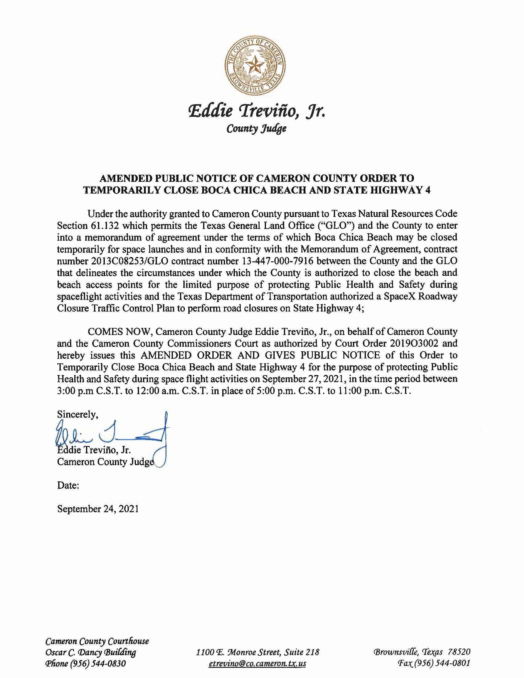 AMENDMENT PUBLIC NOTICE OF CAMERON COUNTY ORDER TO TEMP. BEACH CLOSURE AND HWY.09.27.2021