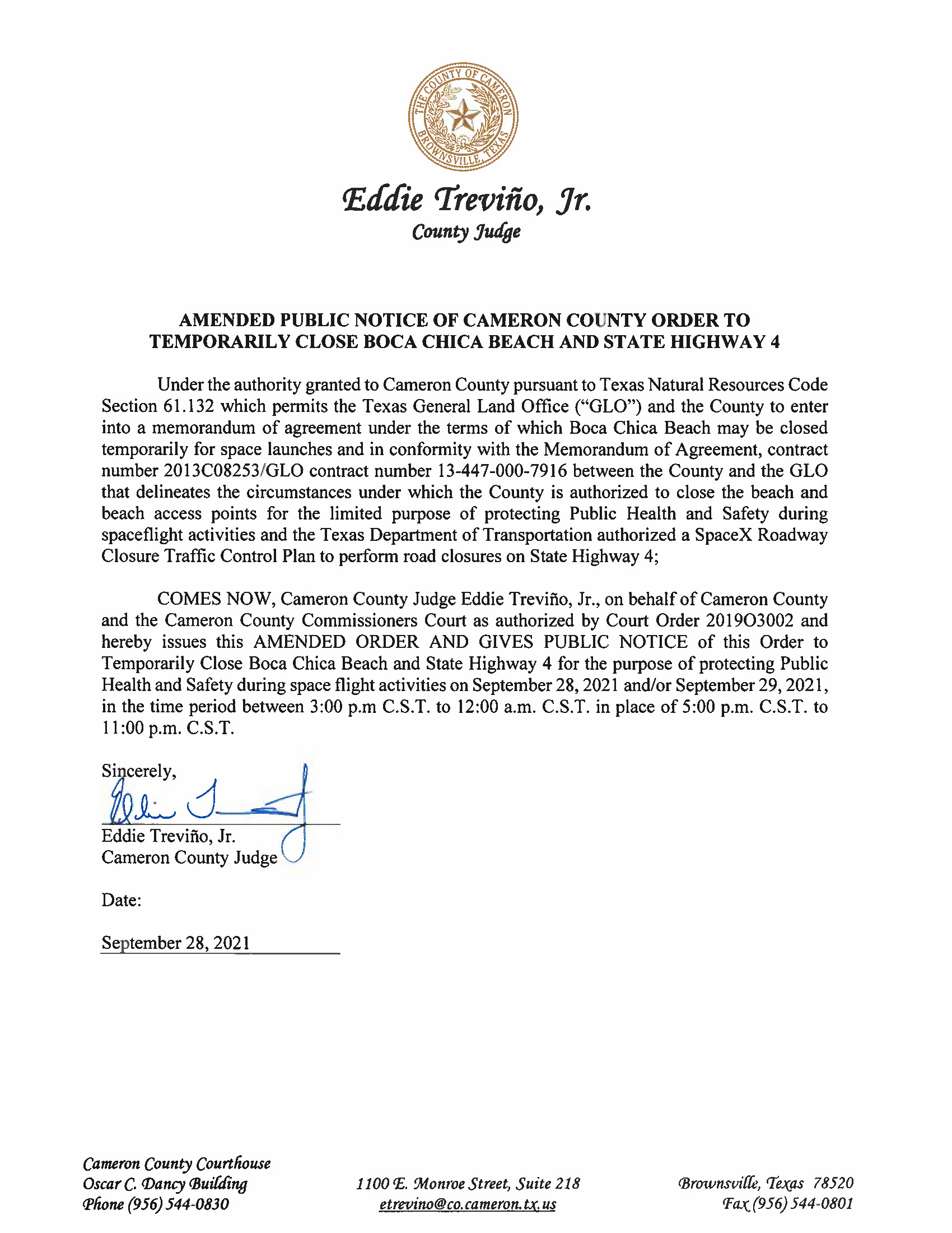 AMENDMENT PUBLIC NOTICE OF CAMERON COUNTY ORDER TO TEMP. BEACH CLOSURE AND HWY.09.28 29.2021