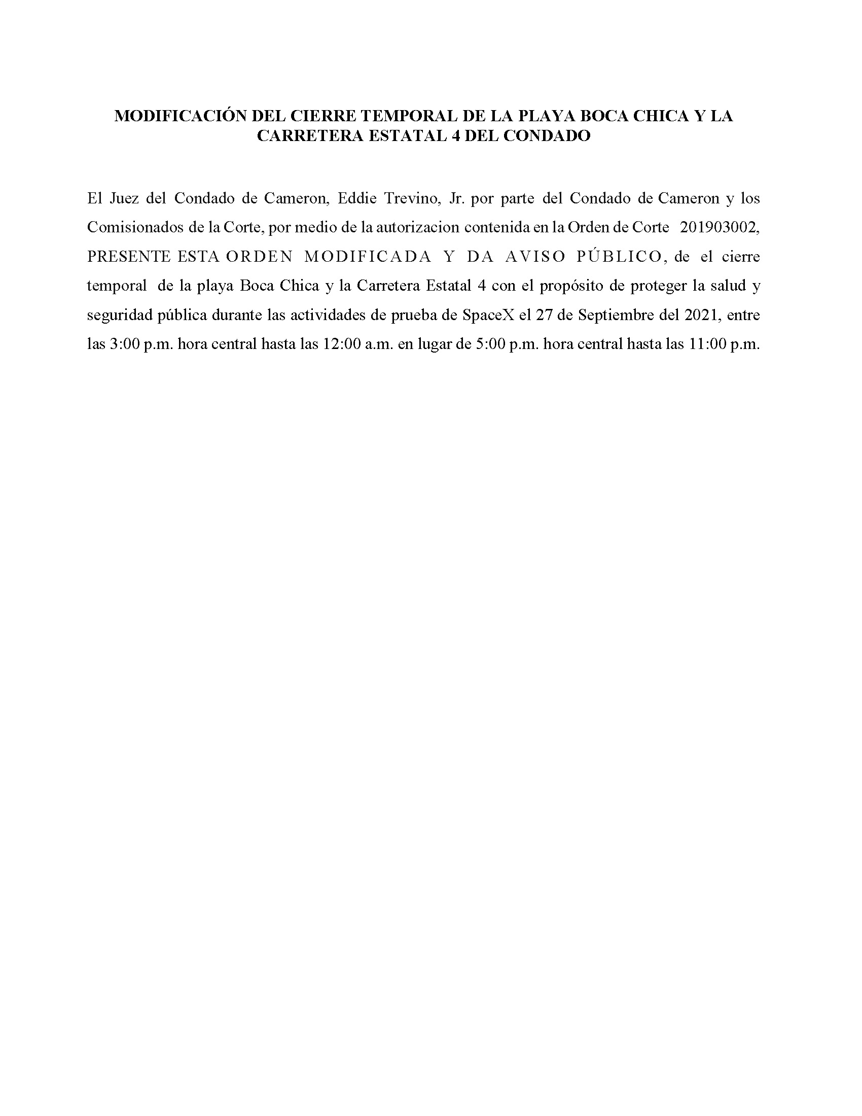 Amended Order In Spanish.09.27.2021
