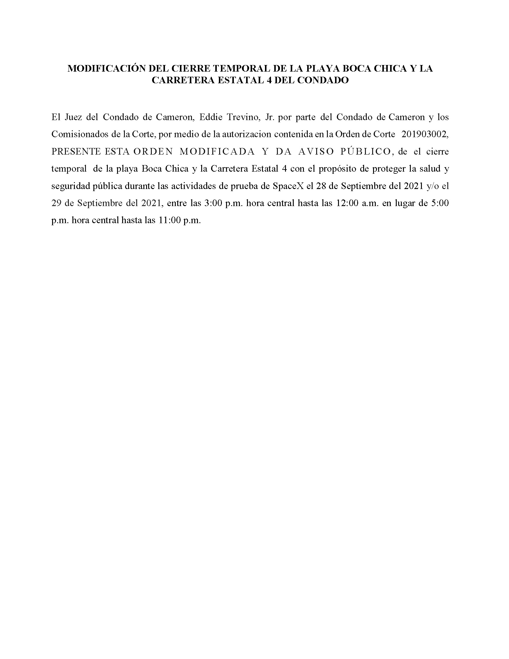 Amended Order In Spanish.09.28 29.2021