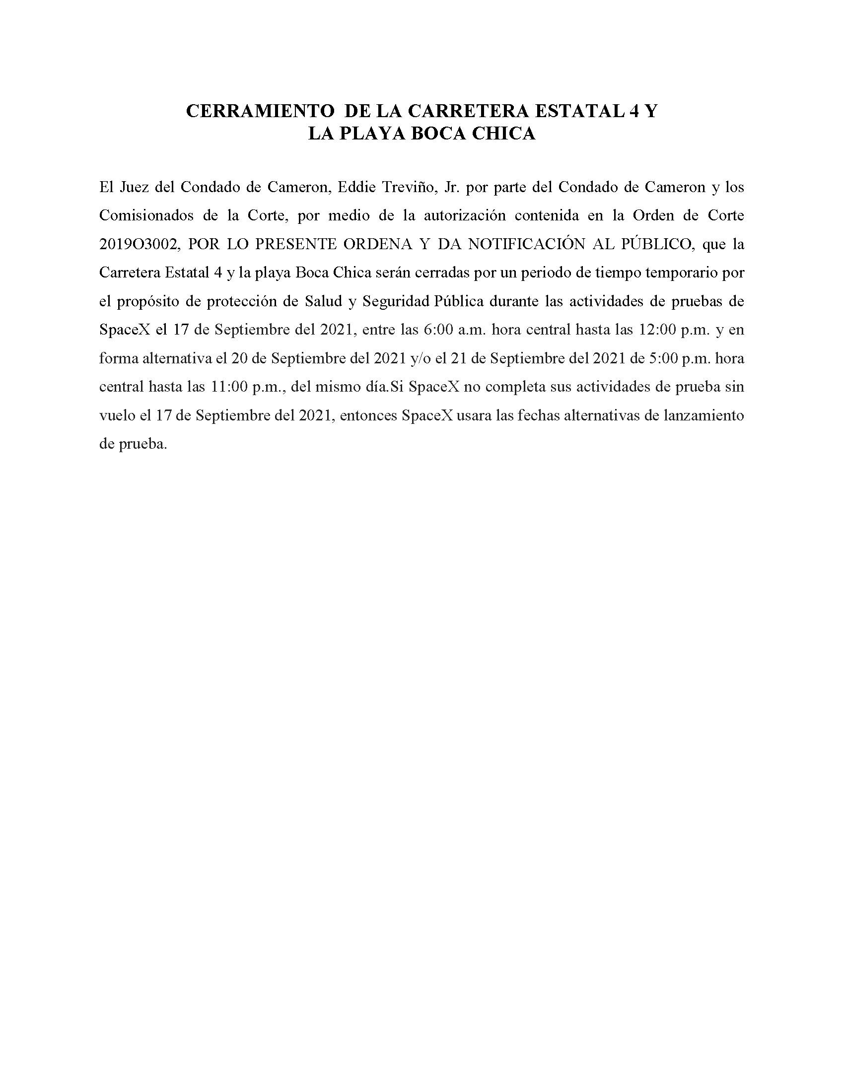 ORDER.CLOSURE OF HIGHWAY 4 Y LA PLAYA BOCA CHICA.SPANISH.09.17.2021