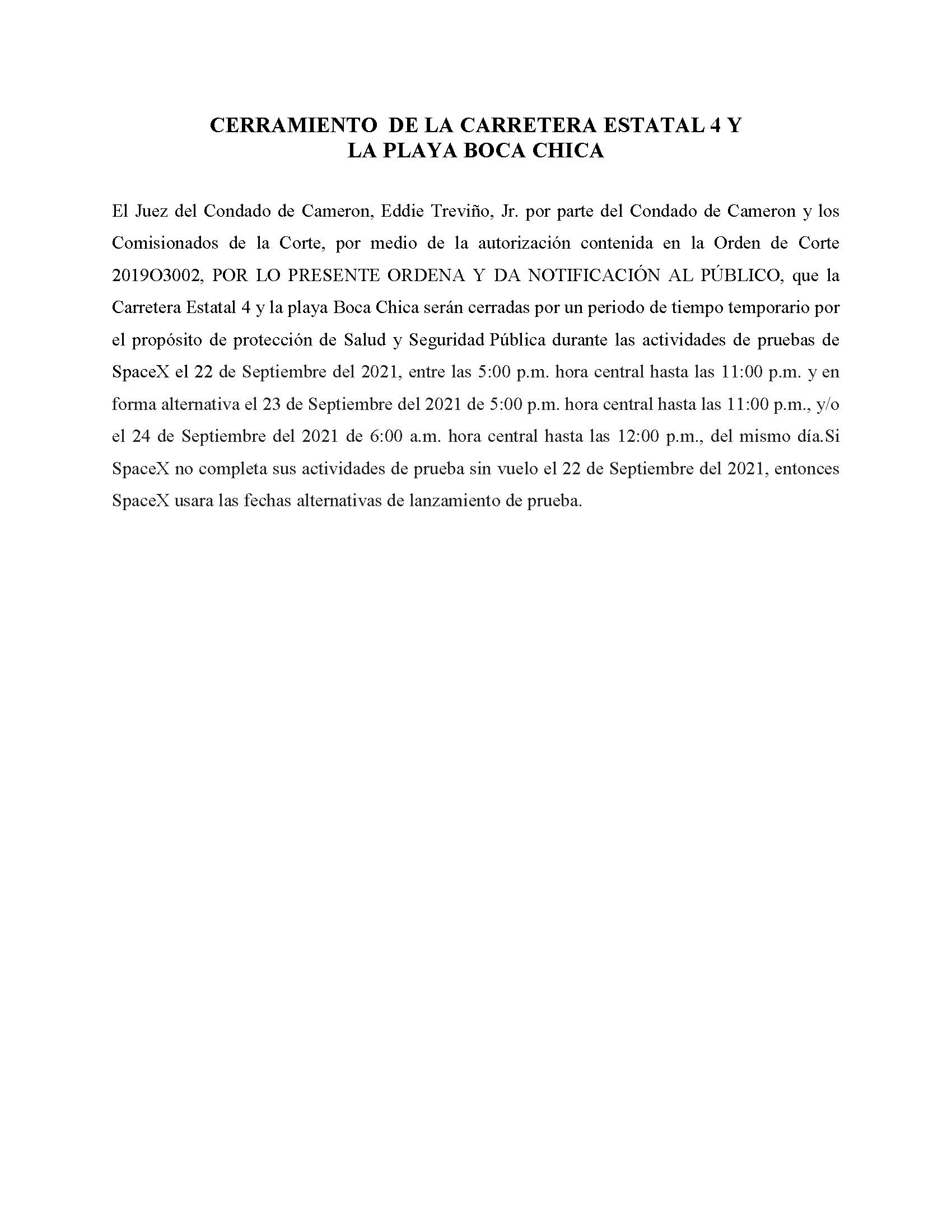 ORDER.CLOSURE OF HIGHWAY 4 Y LA PLAYA BOCA CHICA.SPANISH.09.22.2021