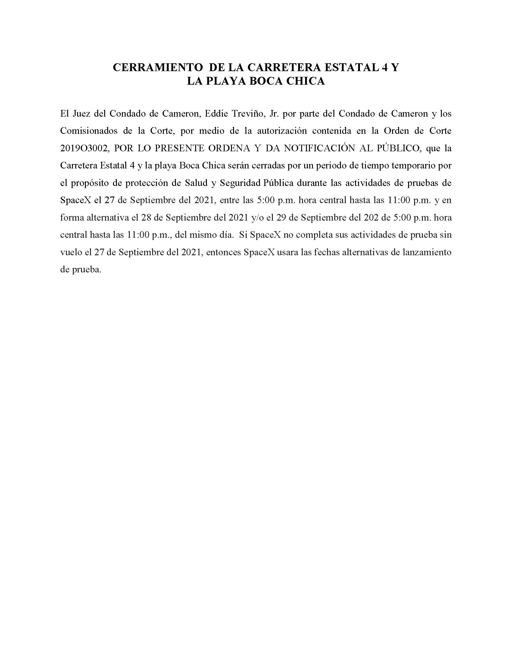 ORDER.CLOSURE OF HIGHWAY 4 Y LA PLAYA BOCA CHICA.SPANISH.09.27.2021