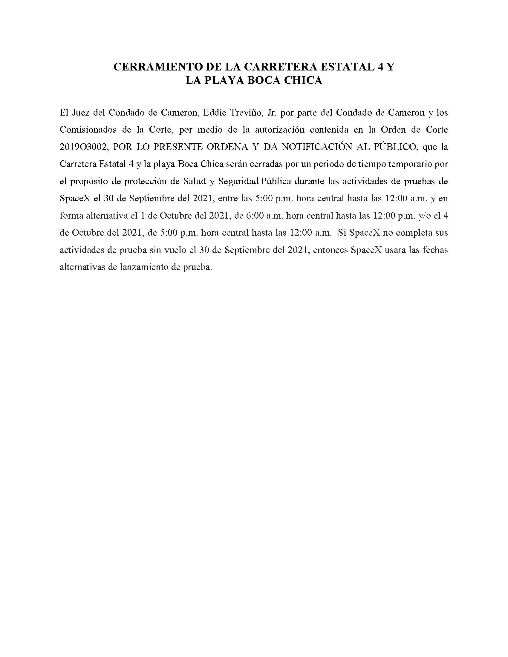 ORDER.CLOSURE OF HIGHWAY 4 Y LA PLAYA BOCA CHICA.SPANISH.09.30.2021