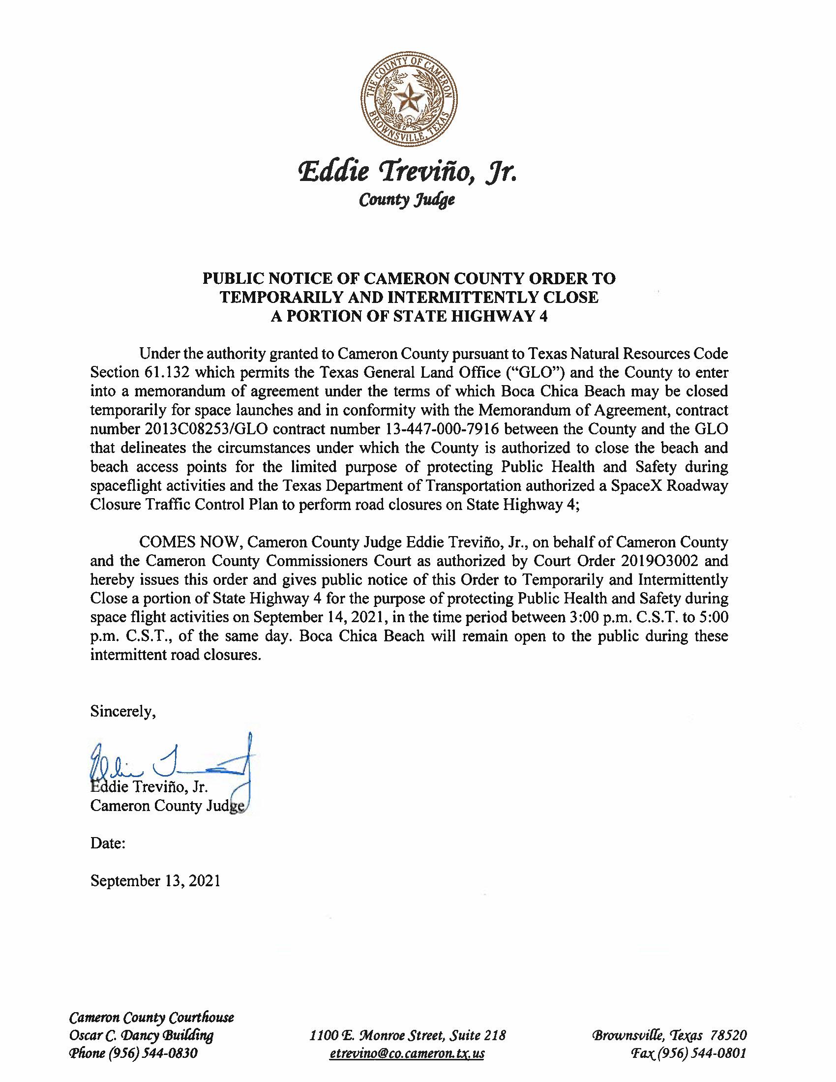 PUBLIC NOTICE OF CAMERON COUNTY ORDER TEMP. ROAD CLOSURE. 09.14.2021