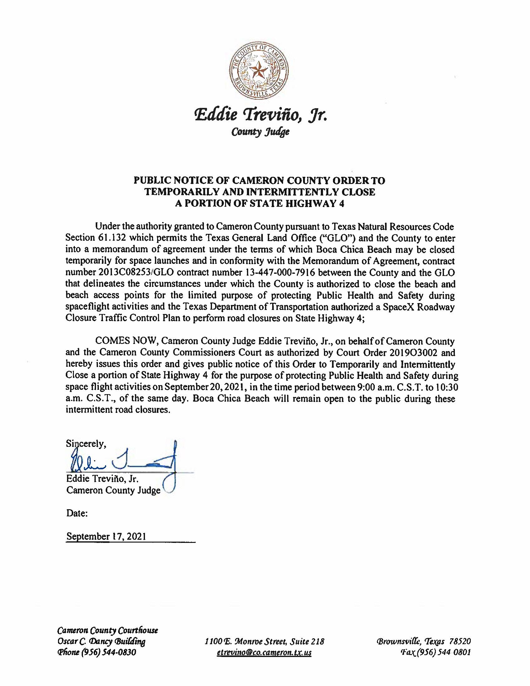PUBLIC NOTICE OF CAMERON COUNTY ORDER TEMP. ROAD CLOSURE. 09.20.2021