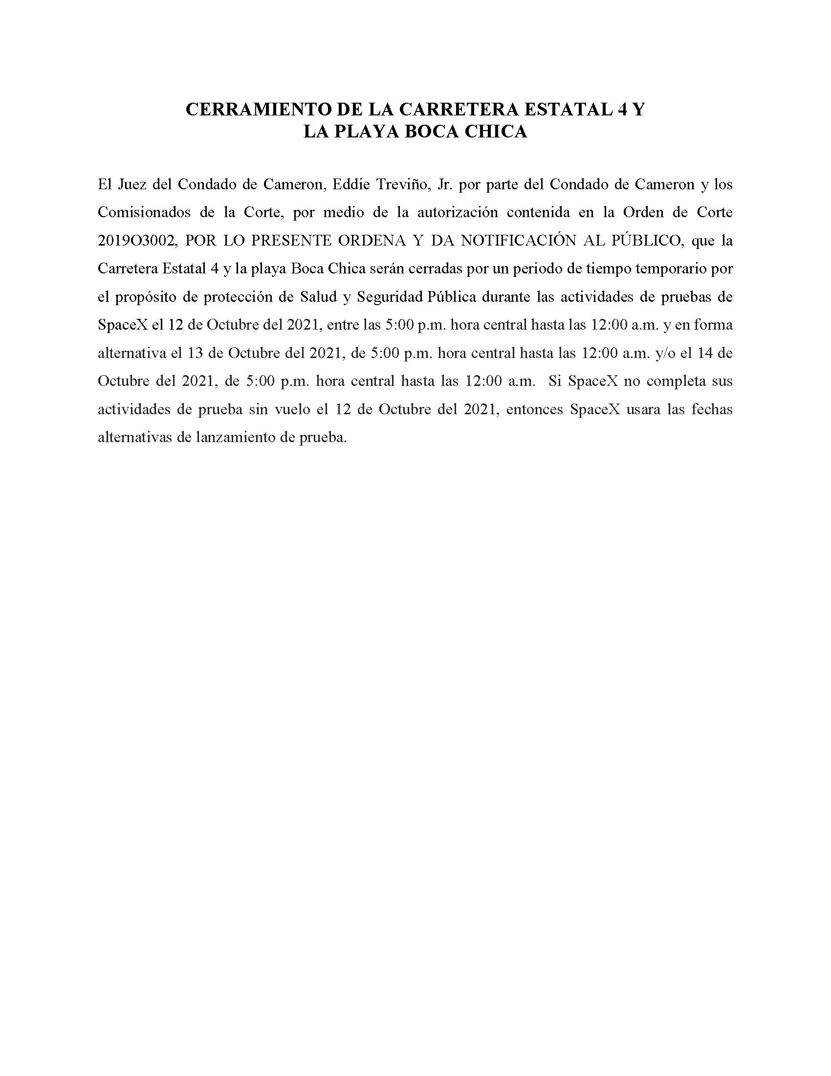 ORDER.CLOSURE OF HIGHWAY 4 Y LA PLAYA BOCA CHICA.SPANISH.10.12.2021