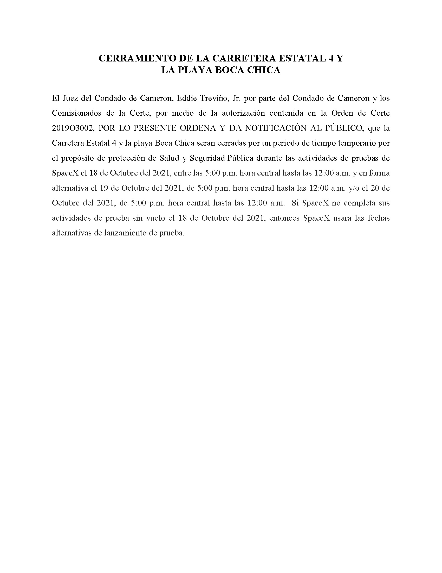 ORDER.CLOSURE OF HIGHWAY 4 Y LA PLAYA BOCA CHICA.SPANISH.10.18.2021