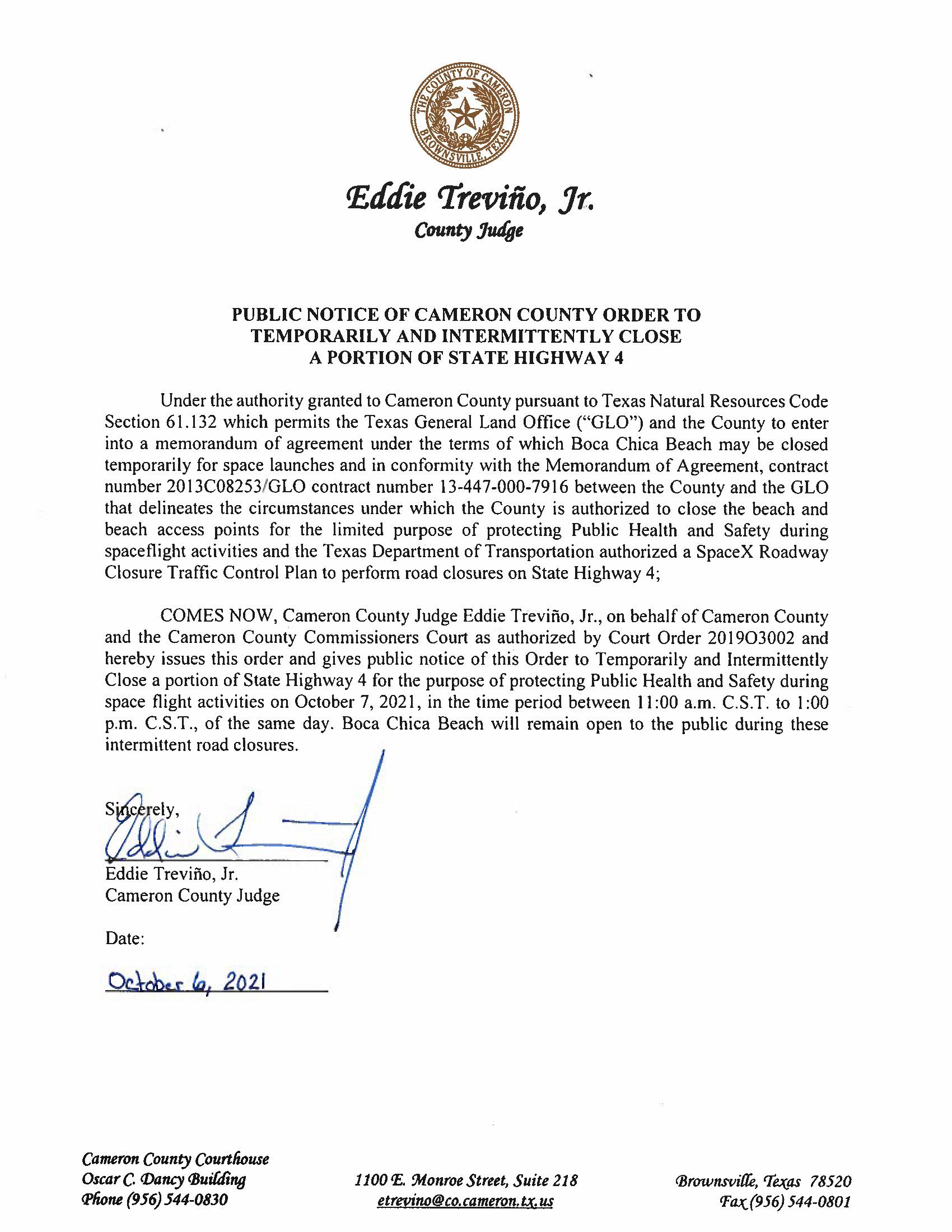 PUBLIC NOTICE OF CAMERON COUNTY ORDER TEMP. ROAD CLOSURE. 10.07.2021