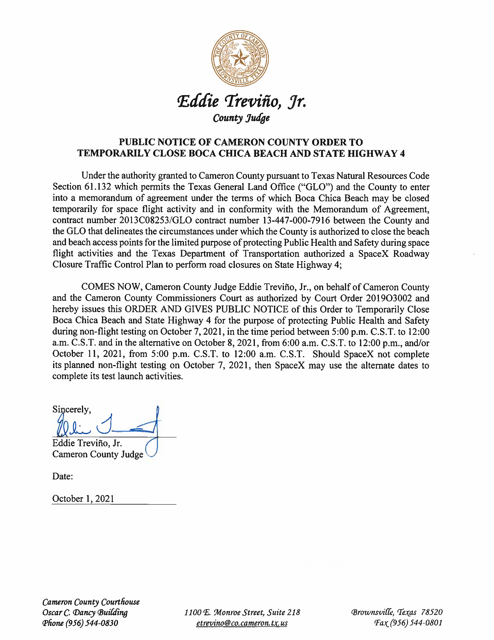 PUBLIC NOTICE OF CAMERON COUNTY ORDER TO TEMP. BEACH CLOSURE AND HWY.10.07.2021