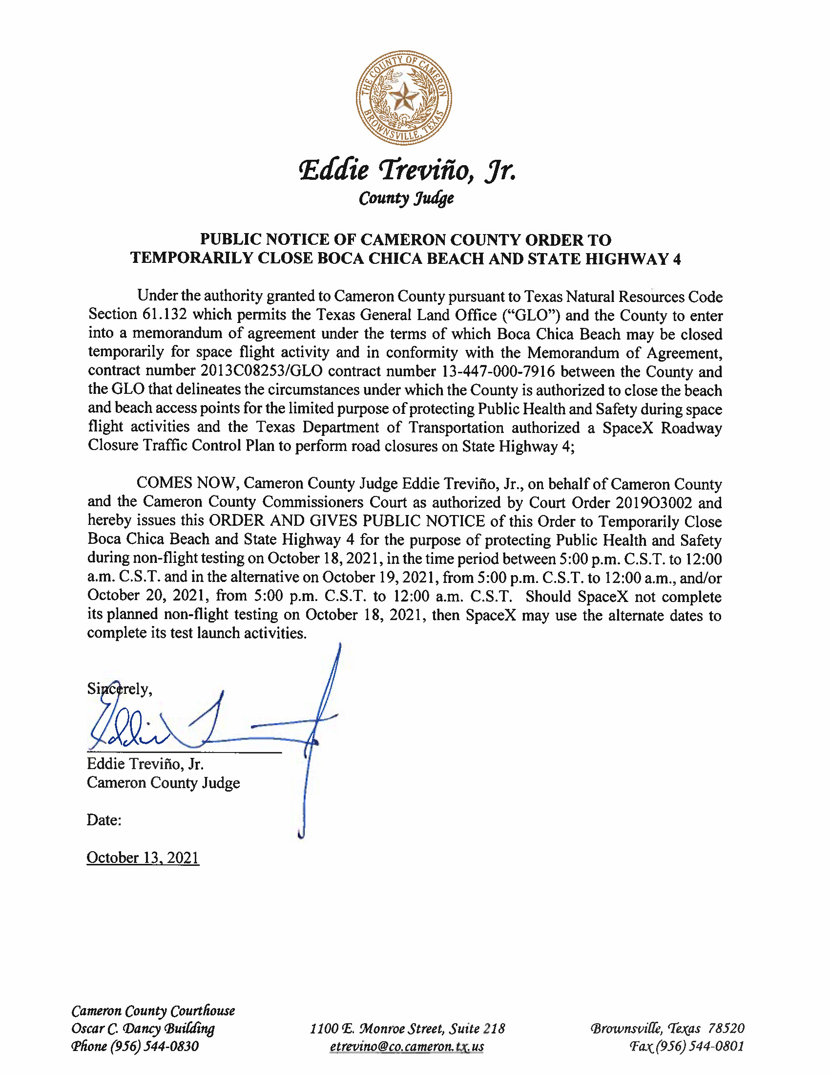 PUBLIC NOTICE OF CAMERON COUNTY ORDER TO TEMP. BEACH CLOSURE AND HWY.10.18.2021